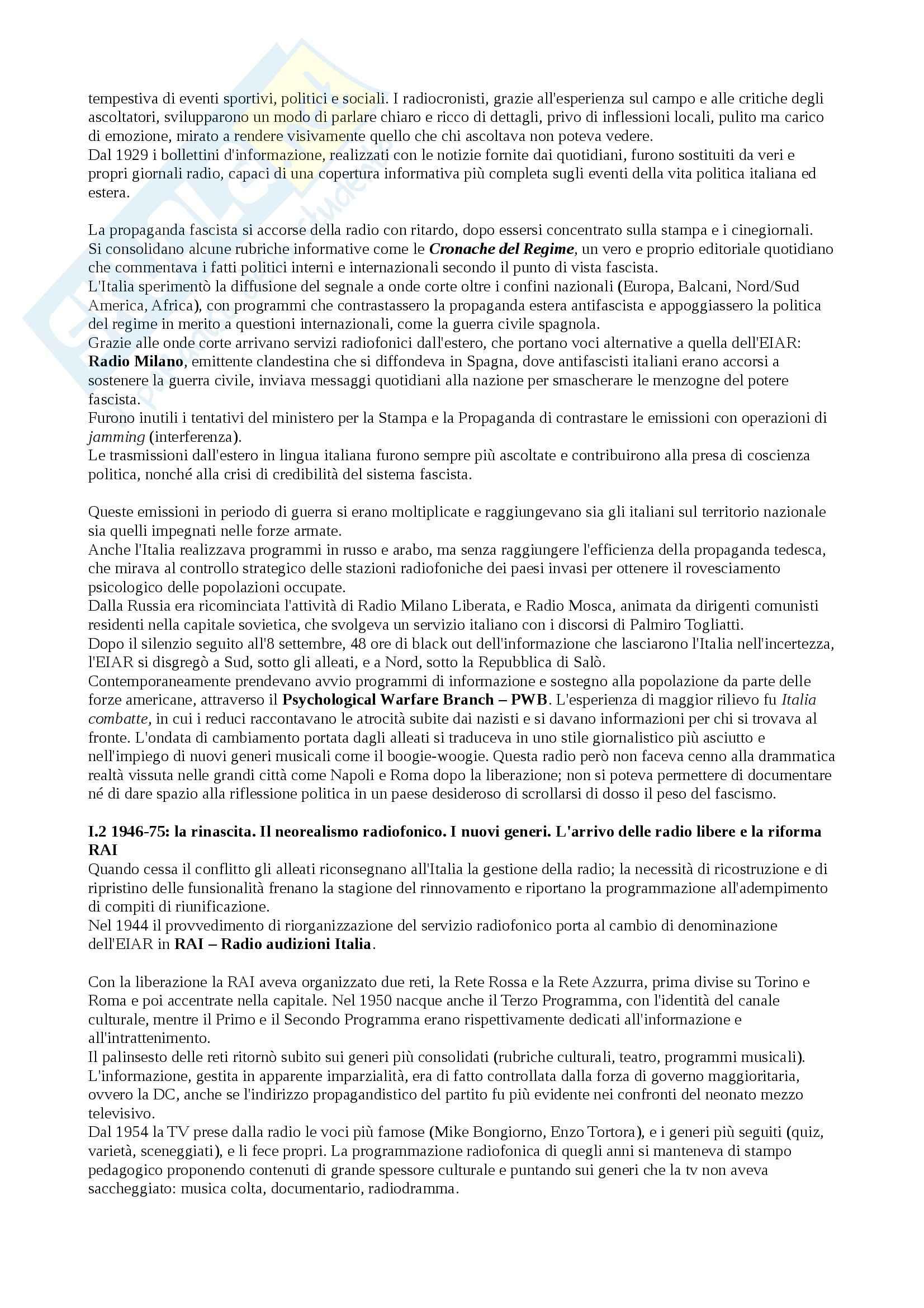 Riassunto esame Laboratorio di Comunicazione Radiofonica, prof. Bonini, libro consigliato La Radio in Italia Pag. 2