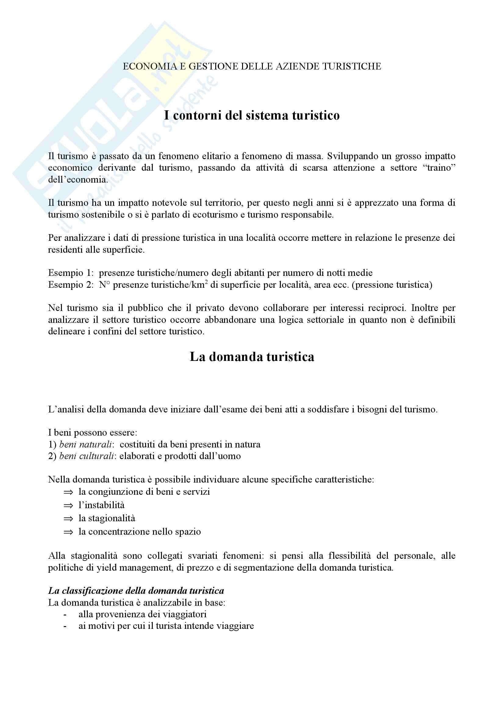 Economia e gestione delle aziende turistiche - Appunti