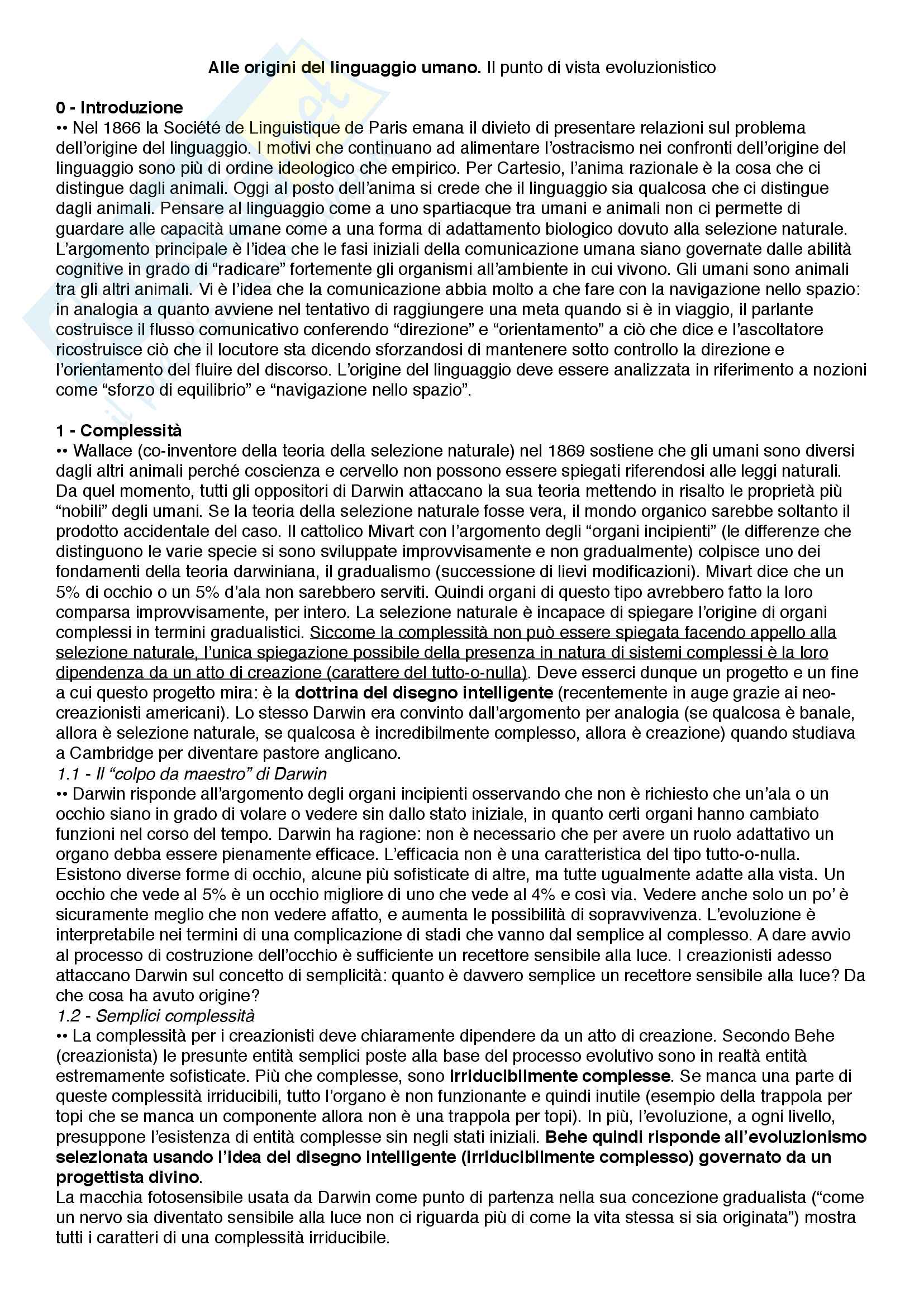 Riassunto esame Filosofia del linguaggio e della comunicazione, prof. Ferretti, libro consigliato Alle origini del linguaggio umano - Il punto di vista evoluzionistico, Ferretti