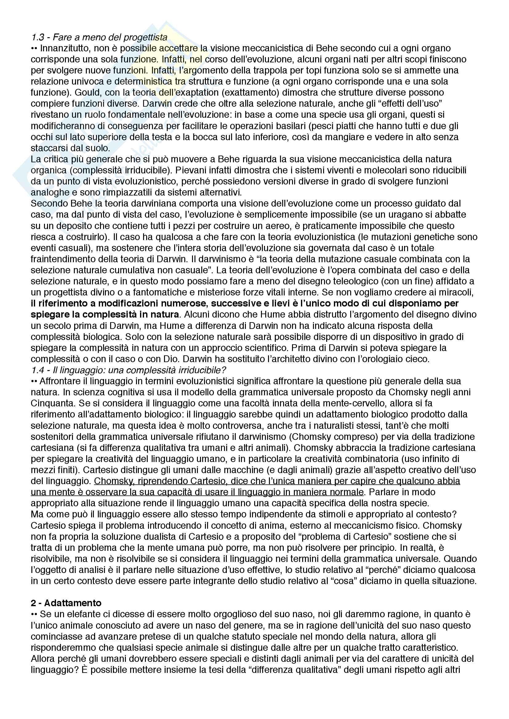 Riassunto esame Filosofia del linguaggio e della comunicazione, prof. Ferretti, libro consigliato Alle origini del linguaggio umano - Il punto di vista evoluzionistico, Ferretti Pag. 2