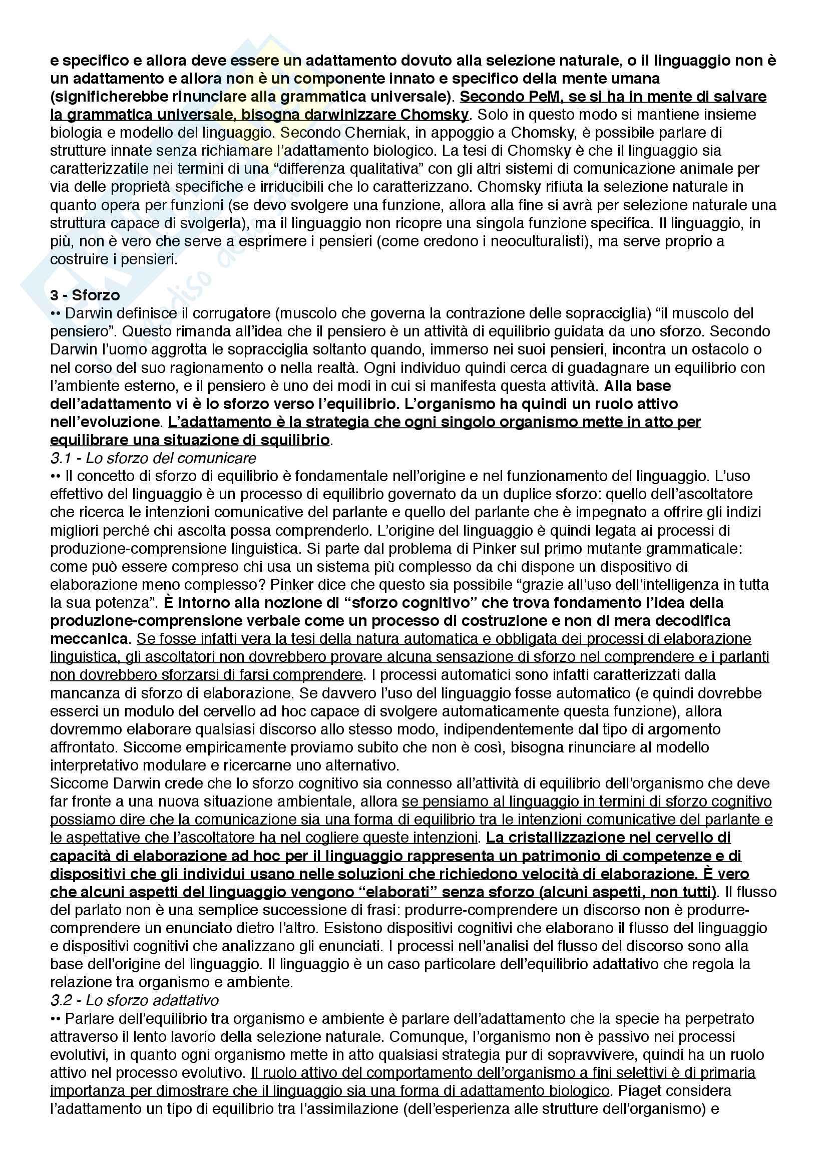 Riassunto esame Filosofia del linguaggio e della comunicazione, prof. Ferretti, libro consigliato Alle origini del linguaggio umano - Il punto di vista evoluzionistico, Ferretti Pag. 6