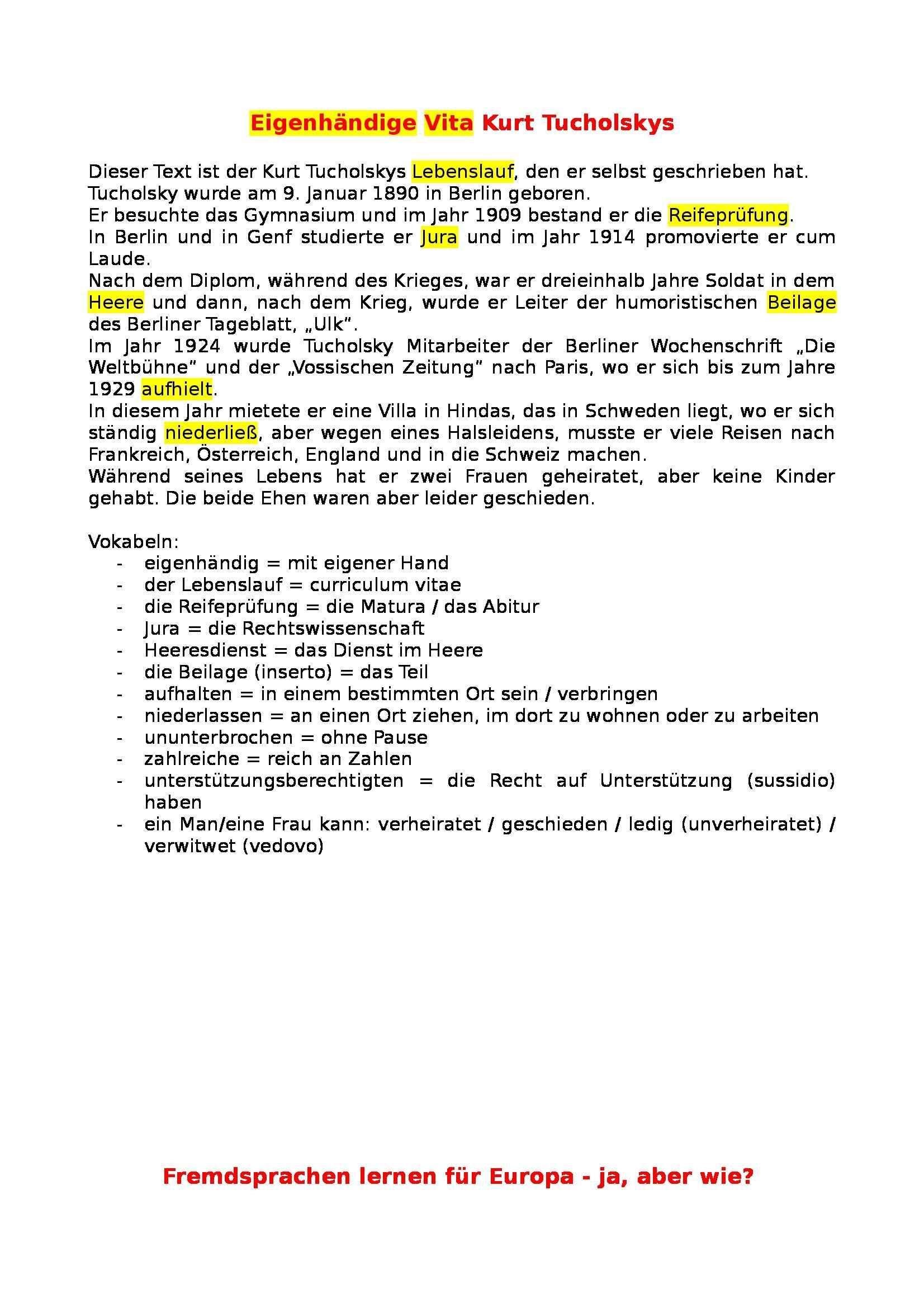 Riassunto esame Lingua tedesca, prof. Spotti, libro consigliato EM, àœbungsgrammatik - Hueber