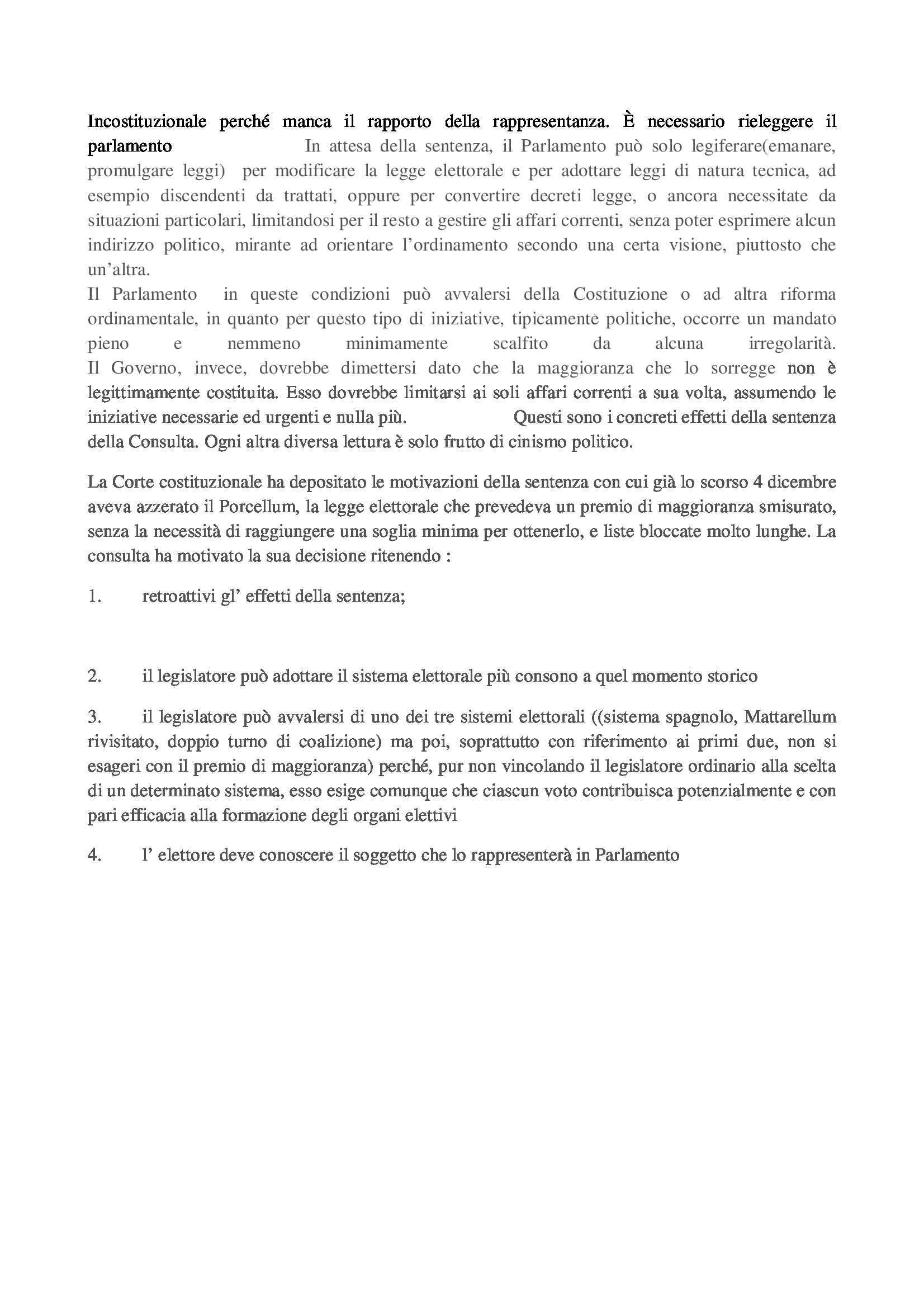 Diritto costituzionale - Porcellum