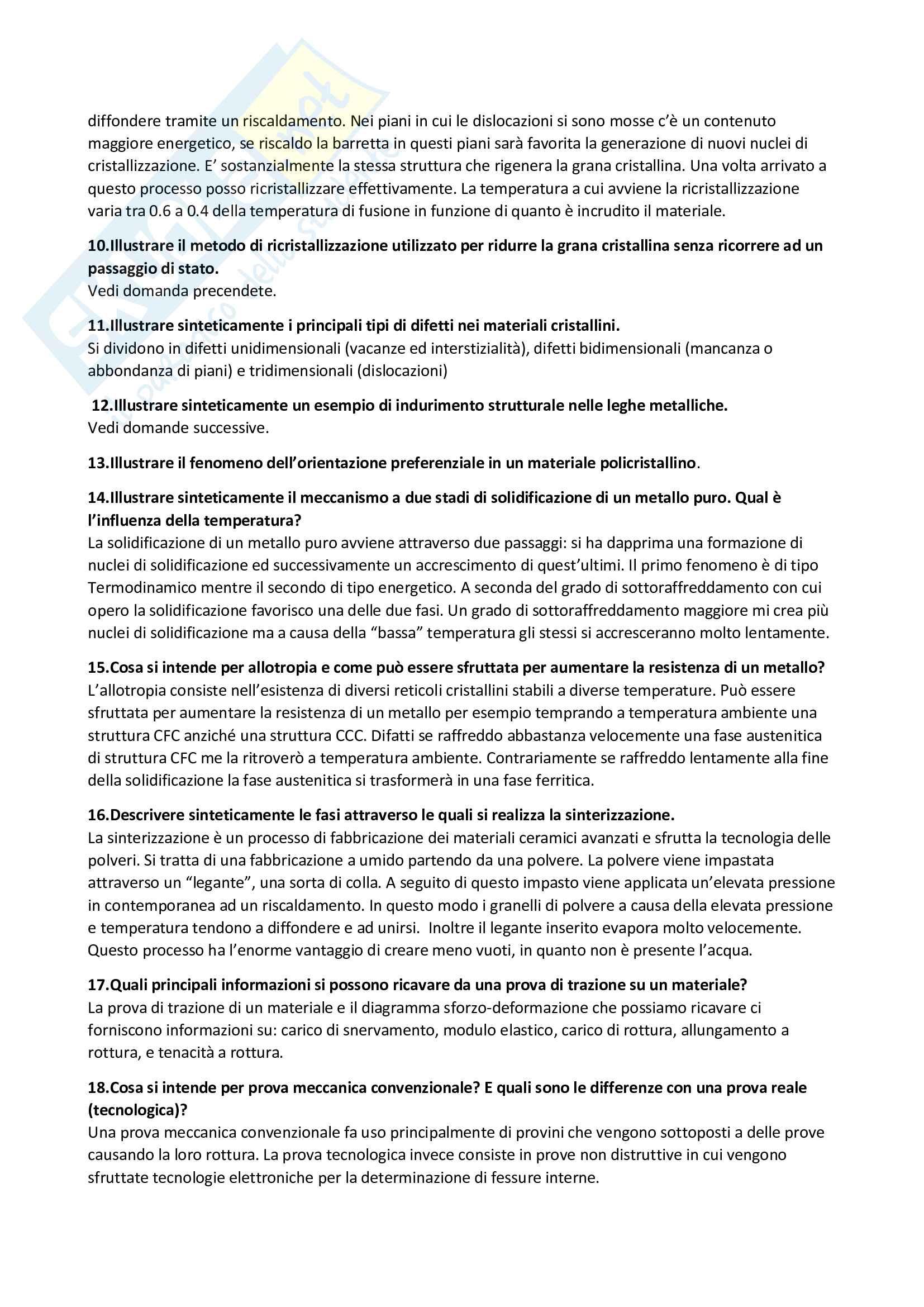 Domande e risposte Tecnologia dei materiali Pag. 2