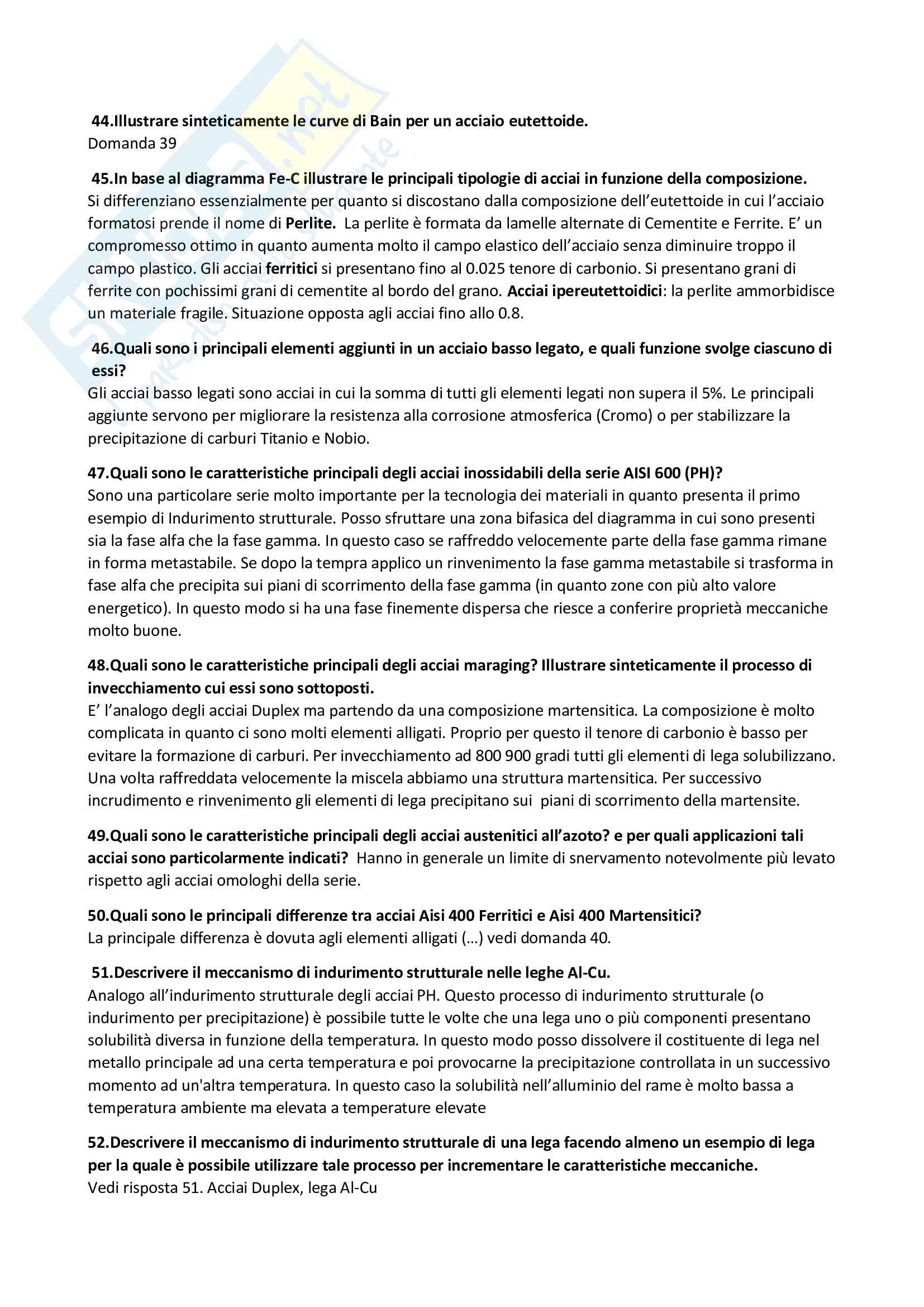 Domande e risposte Tecnologia dei materiali Pag. 6