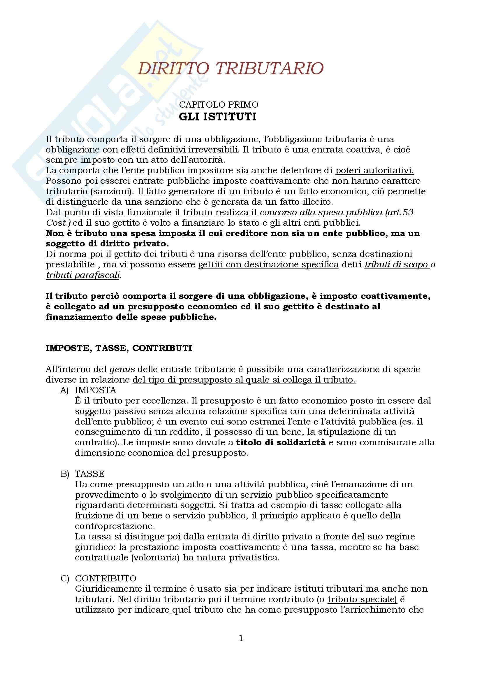 Riassunto esame Diritto Tributario, prof. Fregni, libro consigliato Diritto tributario, Tesauro