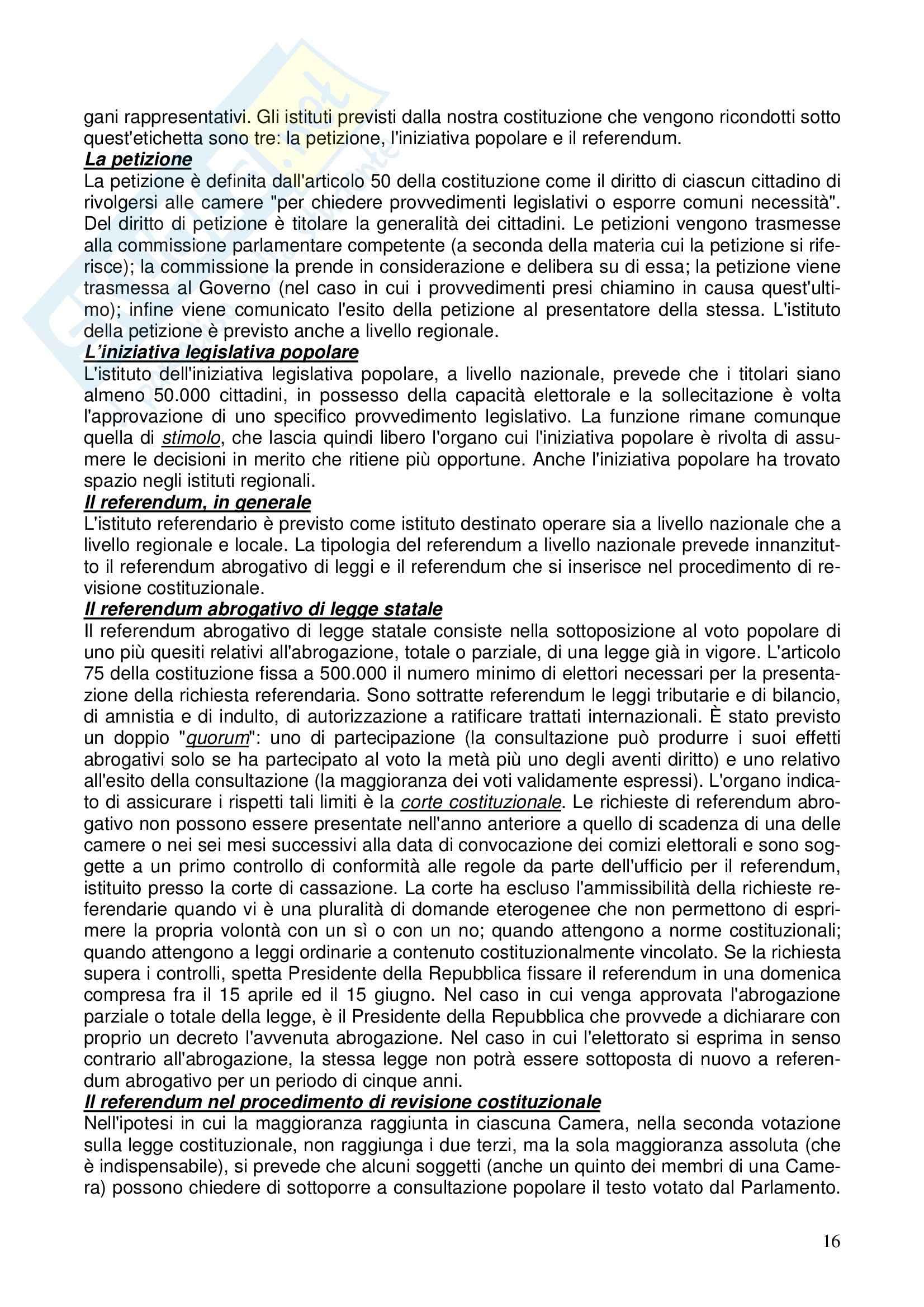 Diritto costituzionale - Riassunto esame, prof. Girelli Pag. 16