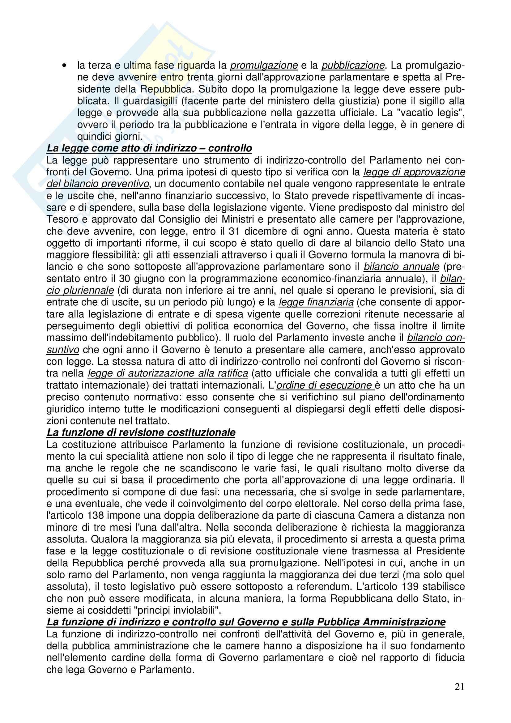 Diritto costituzionale - Riassunto esame, prof. Girelli Pag. 21
