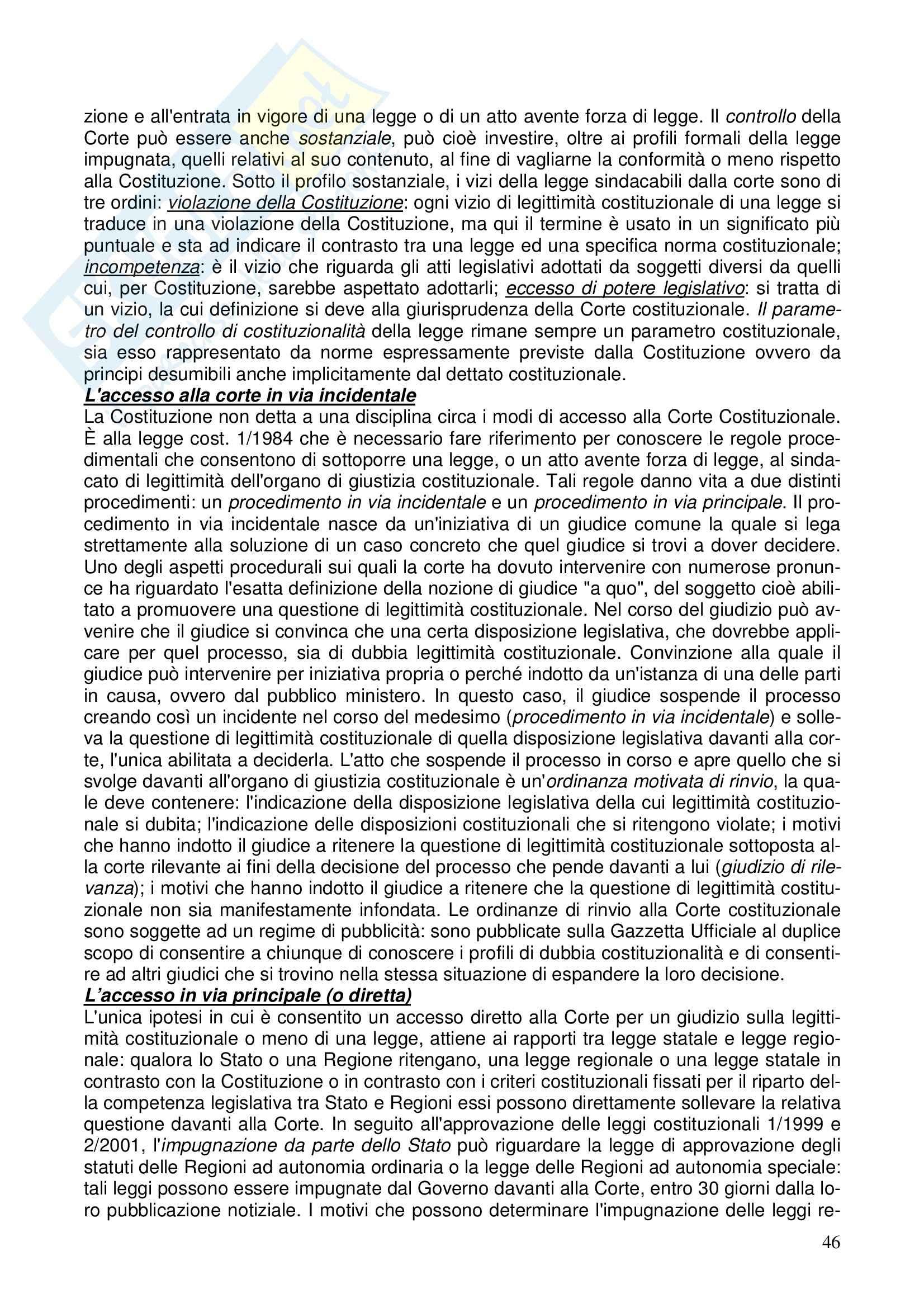 Diritto costituzionale - Riassunto esame, prof. Girelli Pag. 46