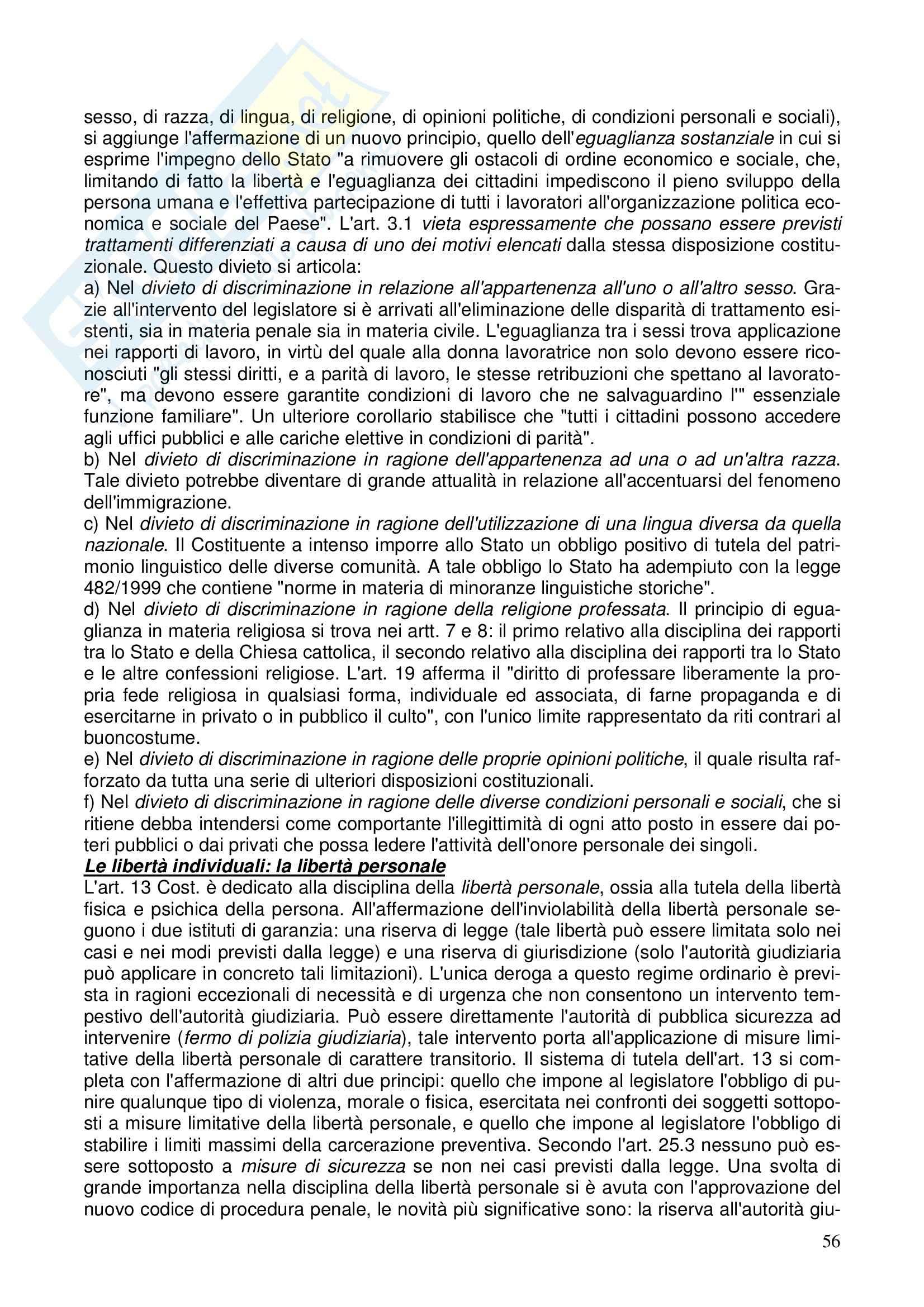 Diritto costituzionale - Riassunto esame, prof. Girelli Pag. 56