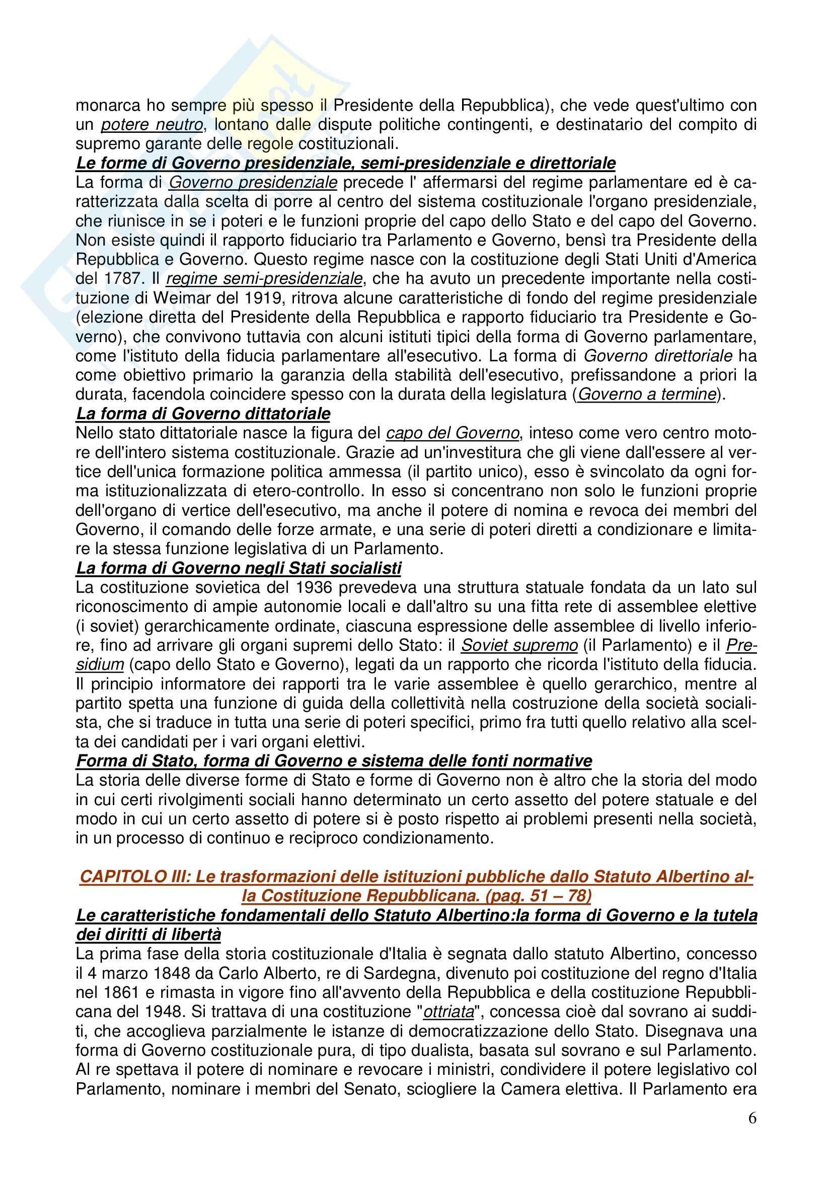 Diritto costituzionale - Riassunto esame, prof. Girelli Pag. 6