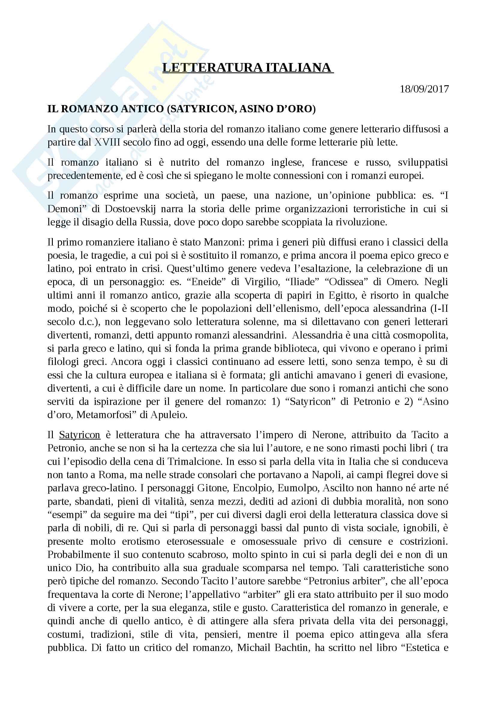 Letteratura italiana - Storia del romanzo italiano Pag. 1