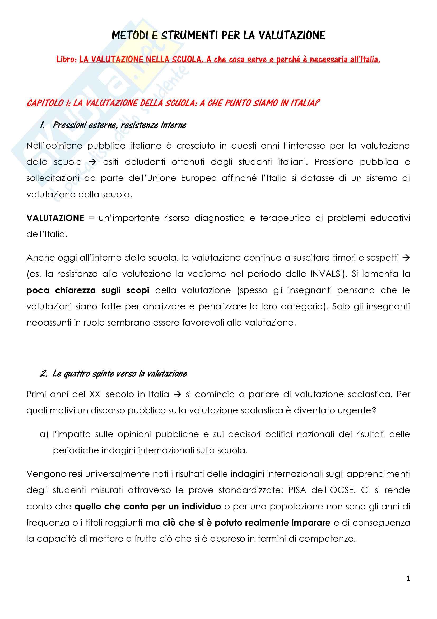 Riassunto esame Metodi di valutazione, prof. Goisis, libro consigliato La valutazione della scuola