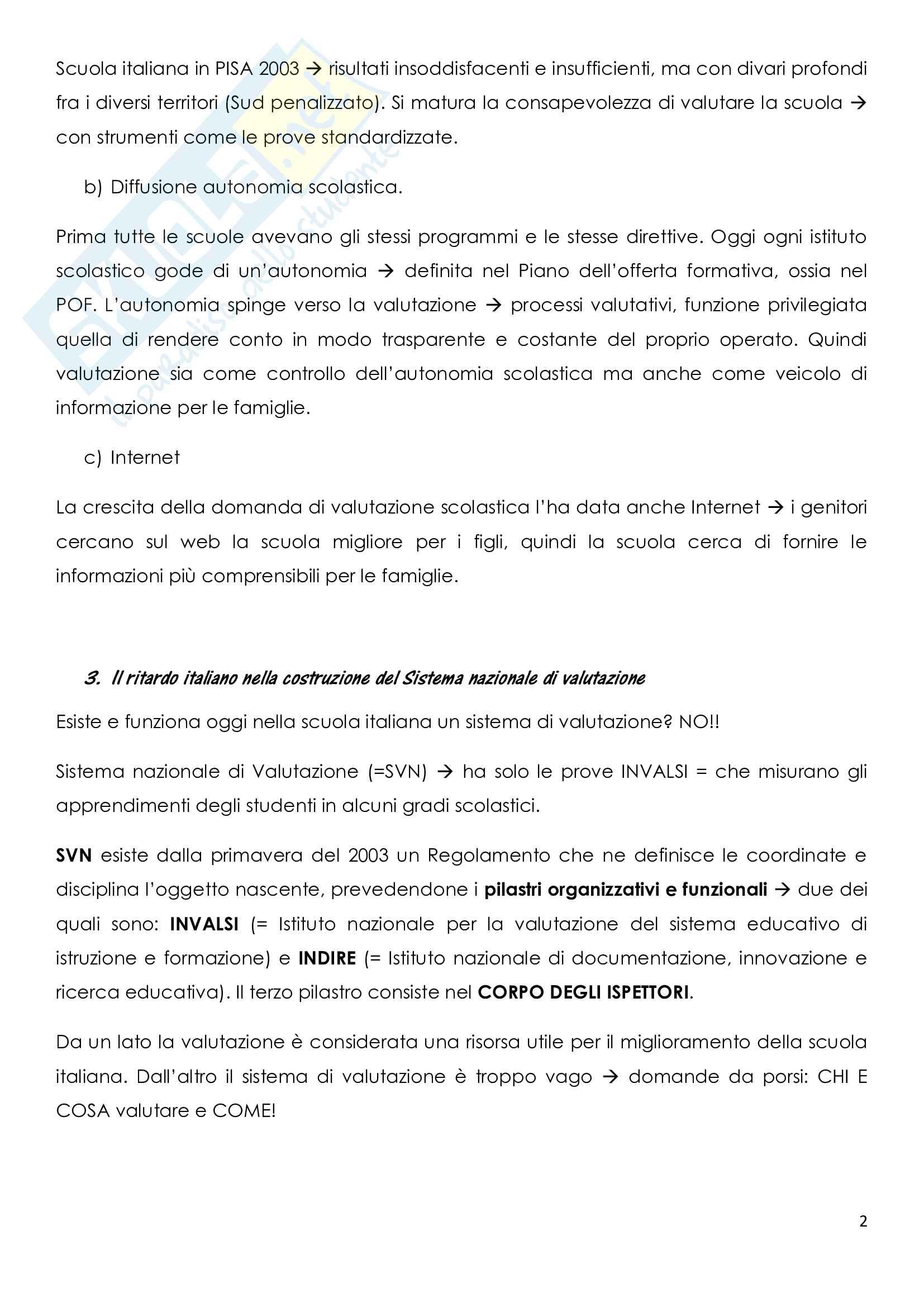 Riassunto esame Metodi di valutazione, prof. Goisis, libro consigliato La valutazione della scuola Pag. 2
