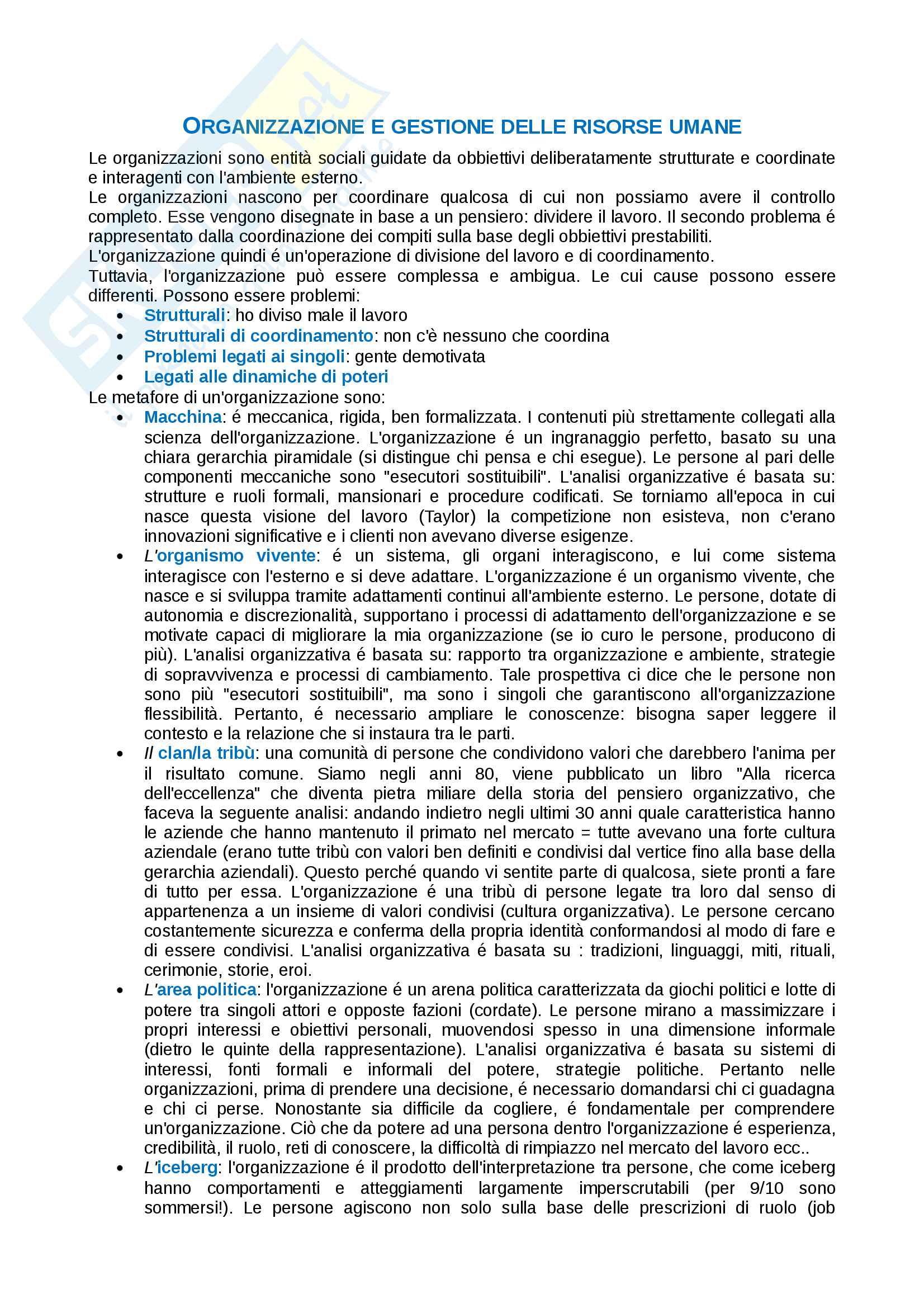 Appunti di Organizzazione e gestione delle risorse umane