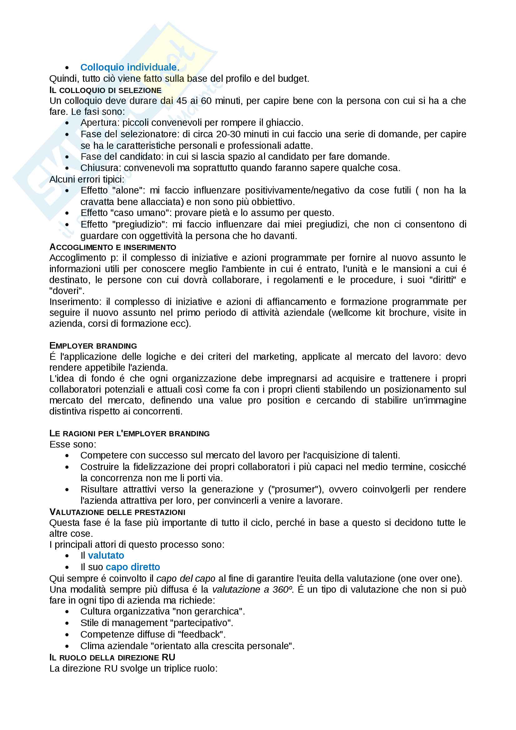 Appunti di Organizzazione e gestione delle risorse umane Pag. 26