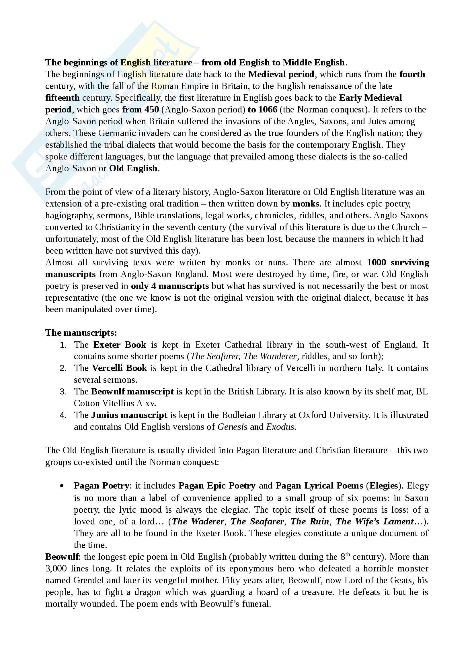 Riassunto esame Cultura e Letteratura Inglese I, prof Polopoli, libro consigliato English Literature. A short history, Bertinetti