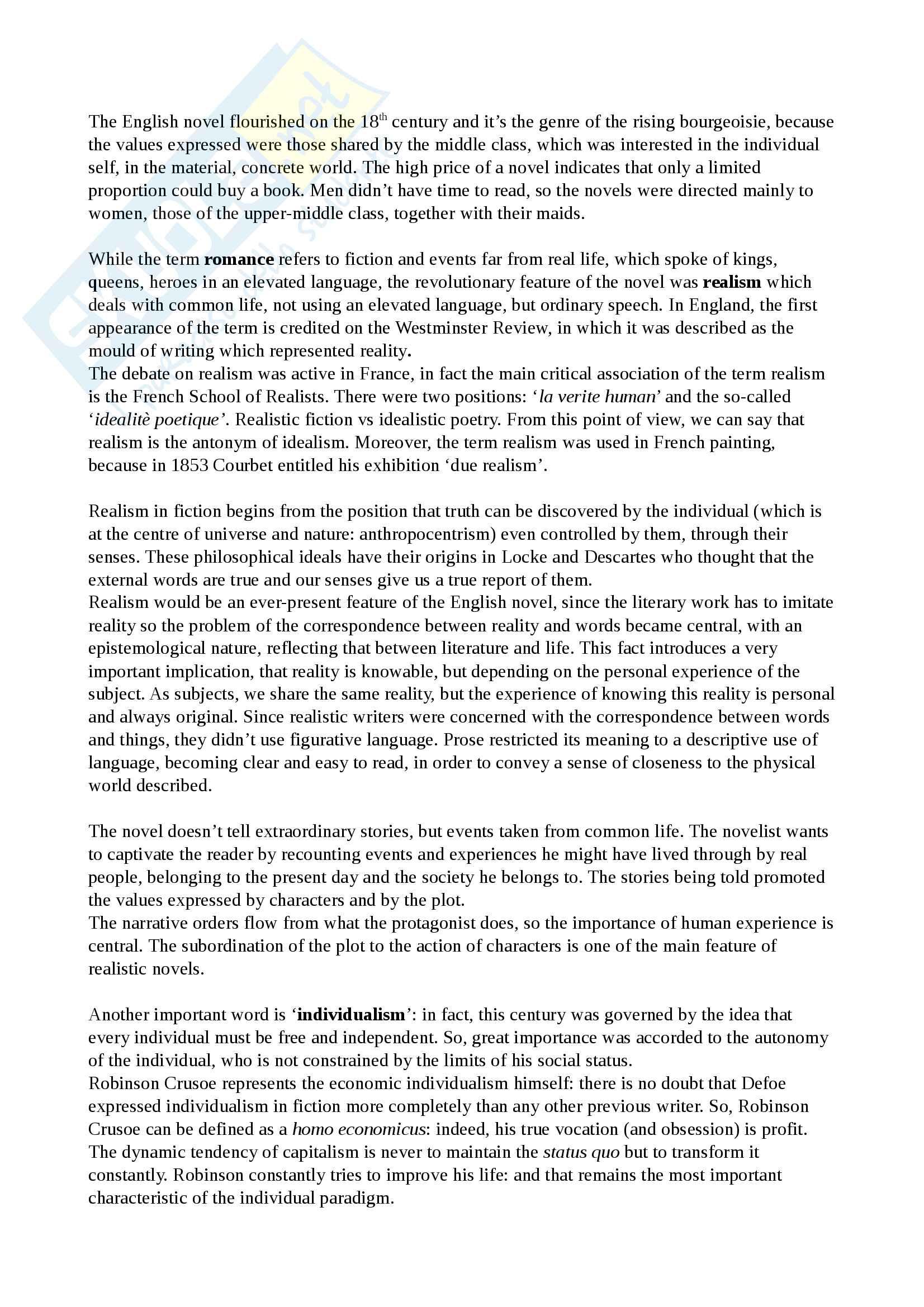 Riassunto esame Cultura e Letteratura Inglese I, prof Polopoli, libro consigliato English Literature. A short history, Bertinetti Pag. 26