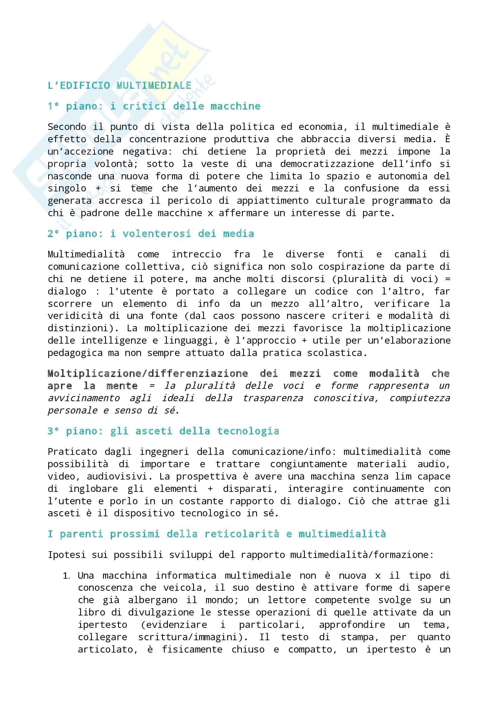 Riassunto esame Didattica, prof. Azzolini, libro consigliato Nuovo manuale di didattica multimediale, Maragliano