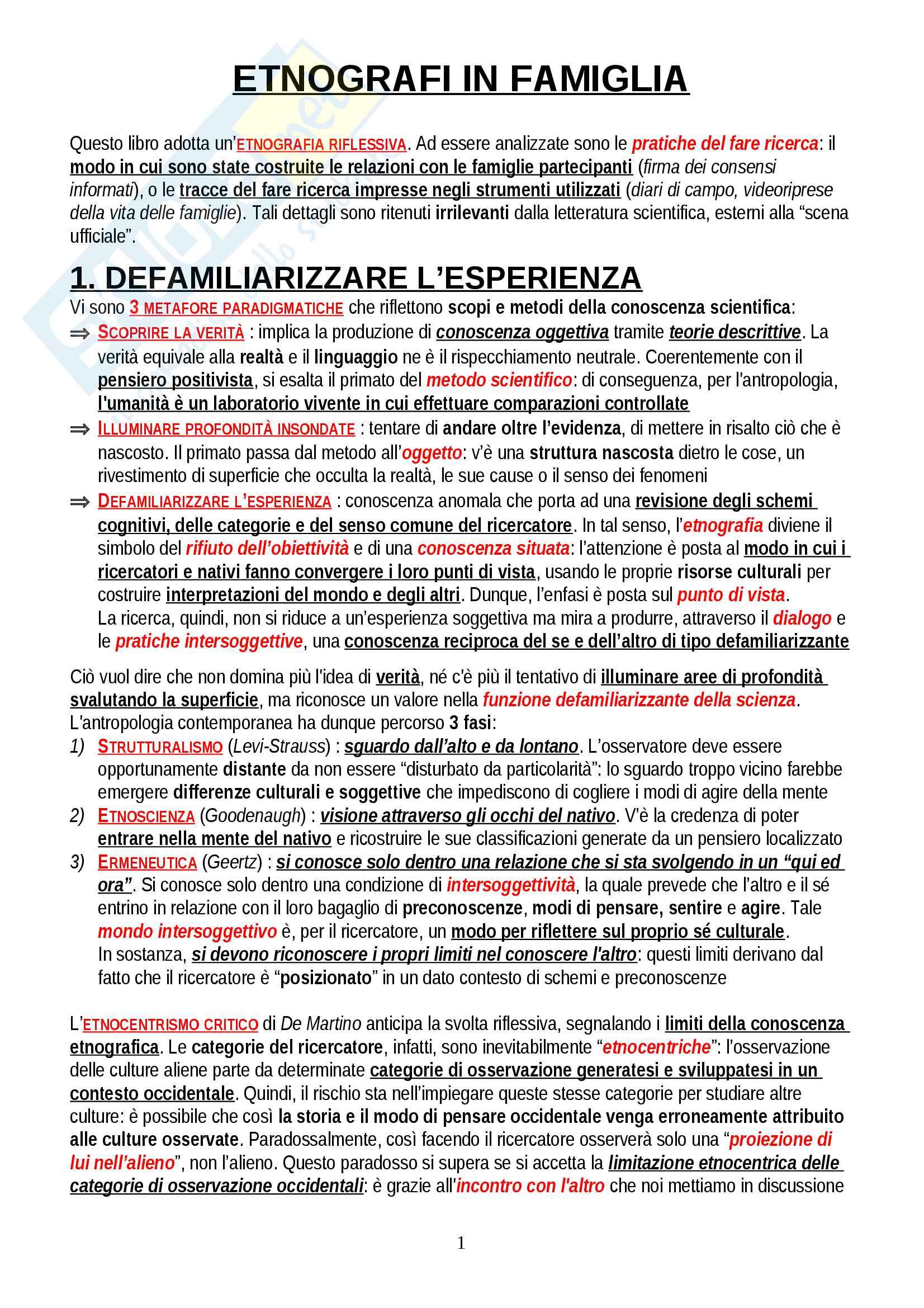 """Riassunto esame Antropologia Culturale, prof. Padiglione, libro consigliato """"Etnografi in famiglia"""", Padiglione"""