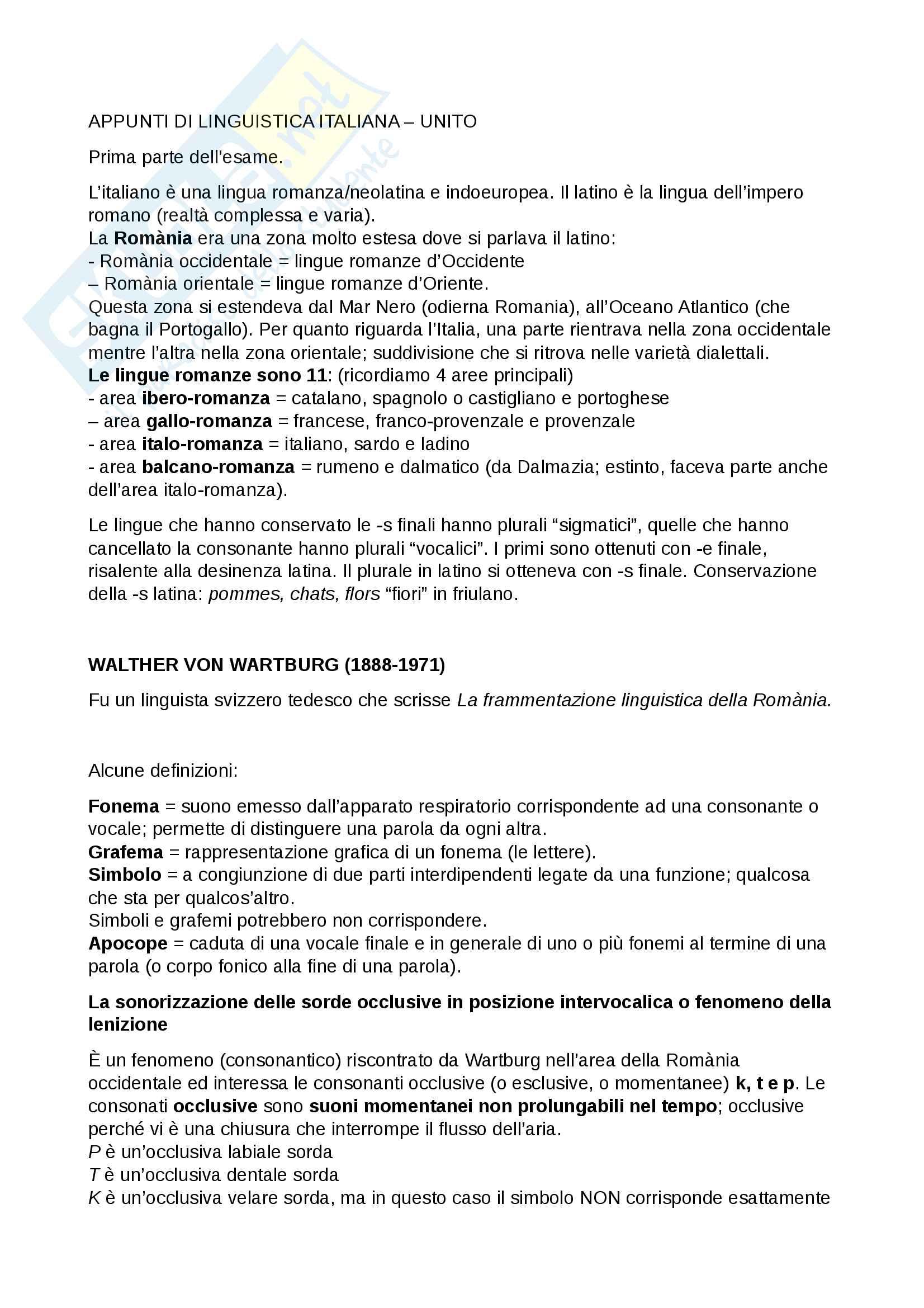 Appunti Linguistica italiana, Prima parte