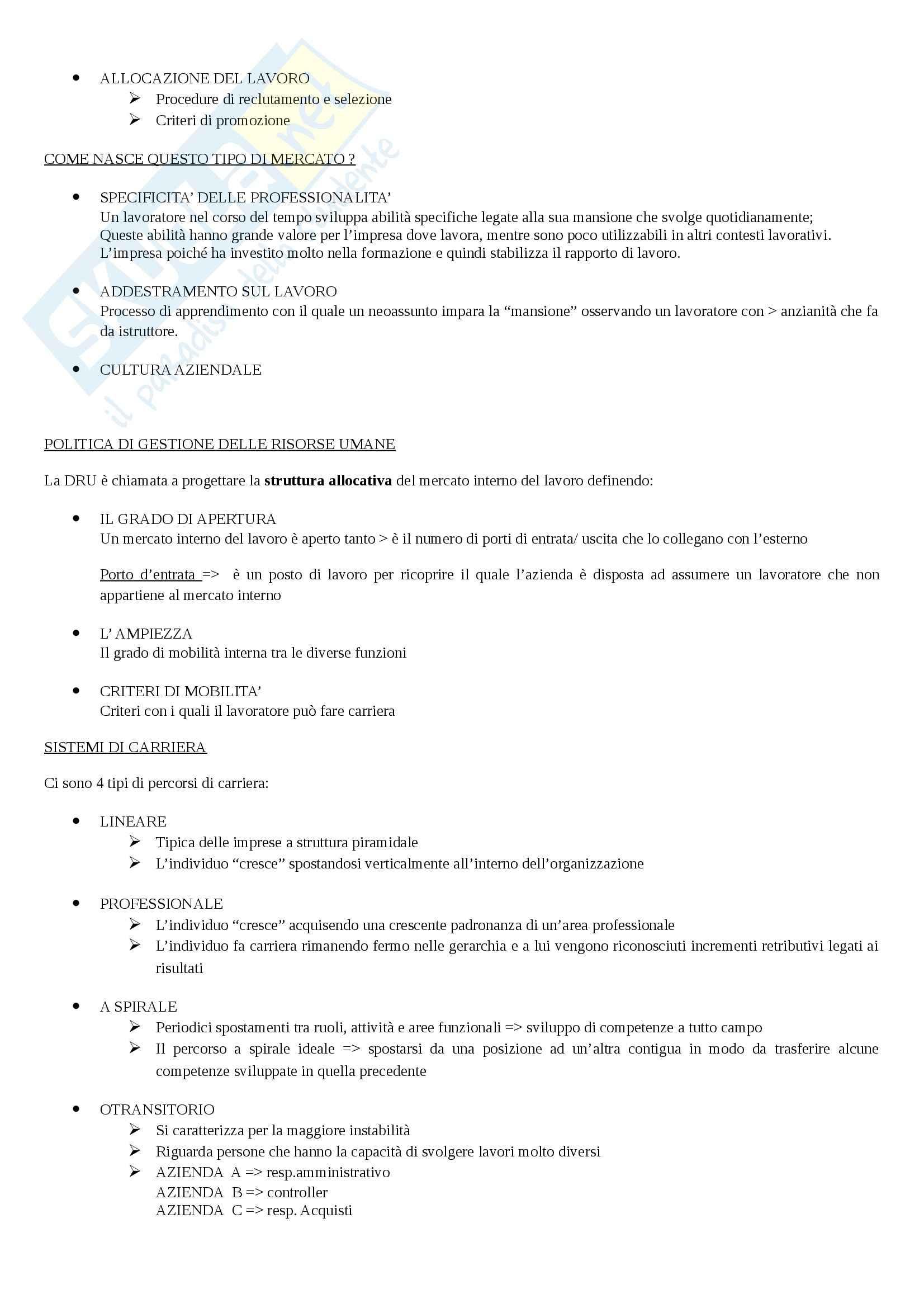 Riassunto esame Gestione delle Risorse Umane, prof. Manzolini, libro consigliato Risorse Umane. Persone, Relazioni e Valore, Costa Pag. 21
