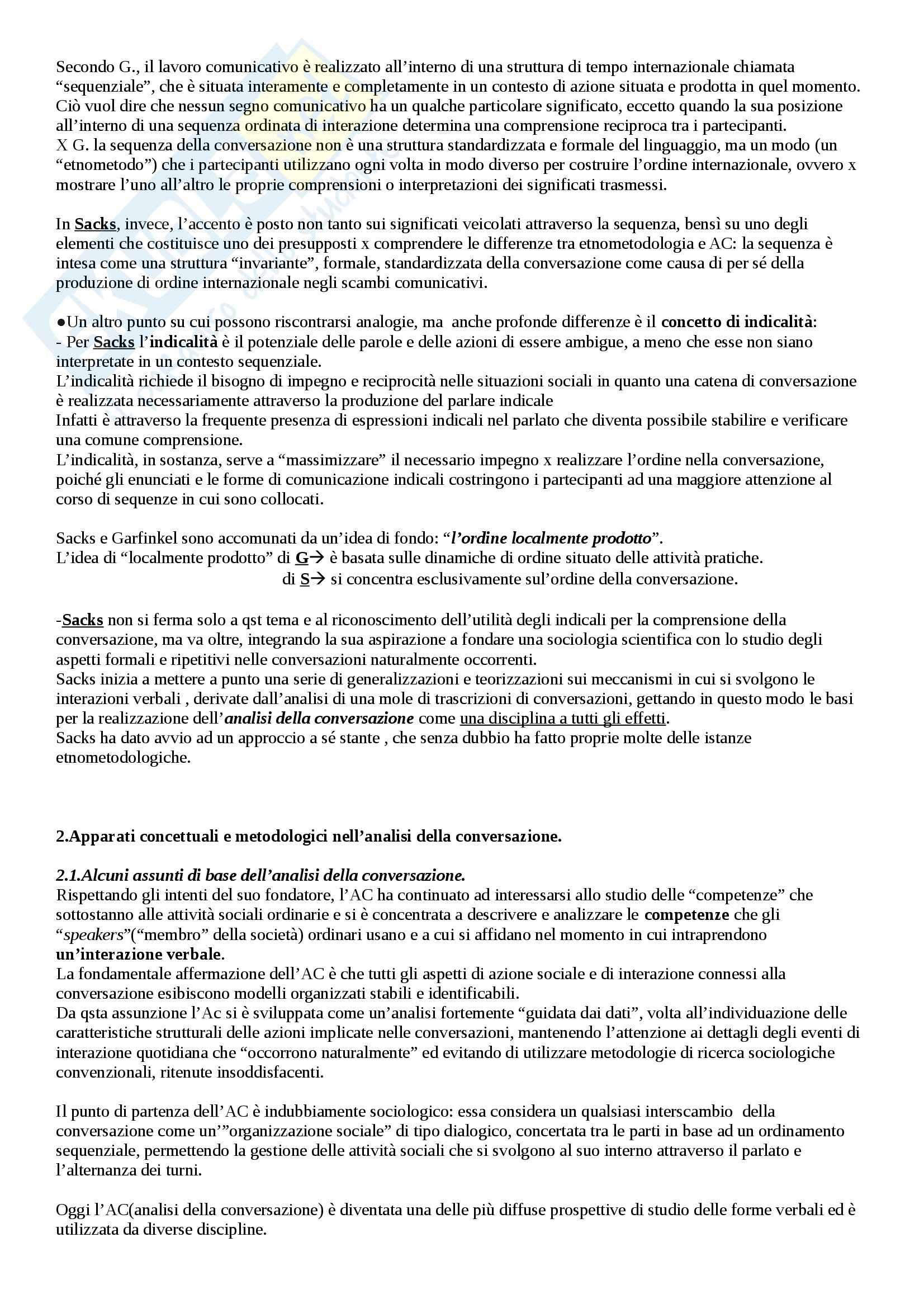 Riassunto esame Sociologia, prof. Sena, libro consigliato Etnometodologia e sociologia in Garfinkel Pag. 21