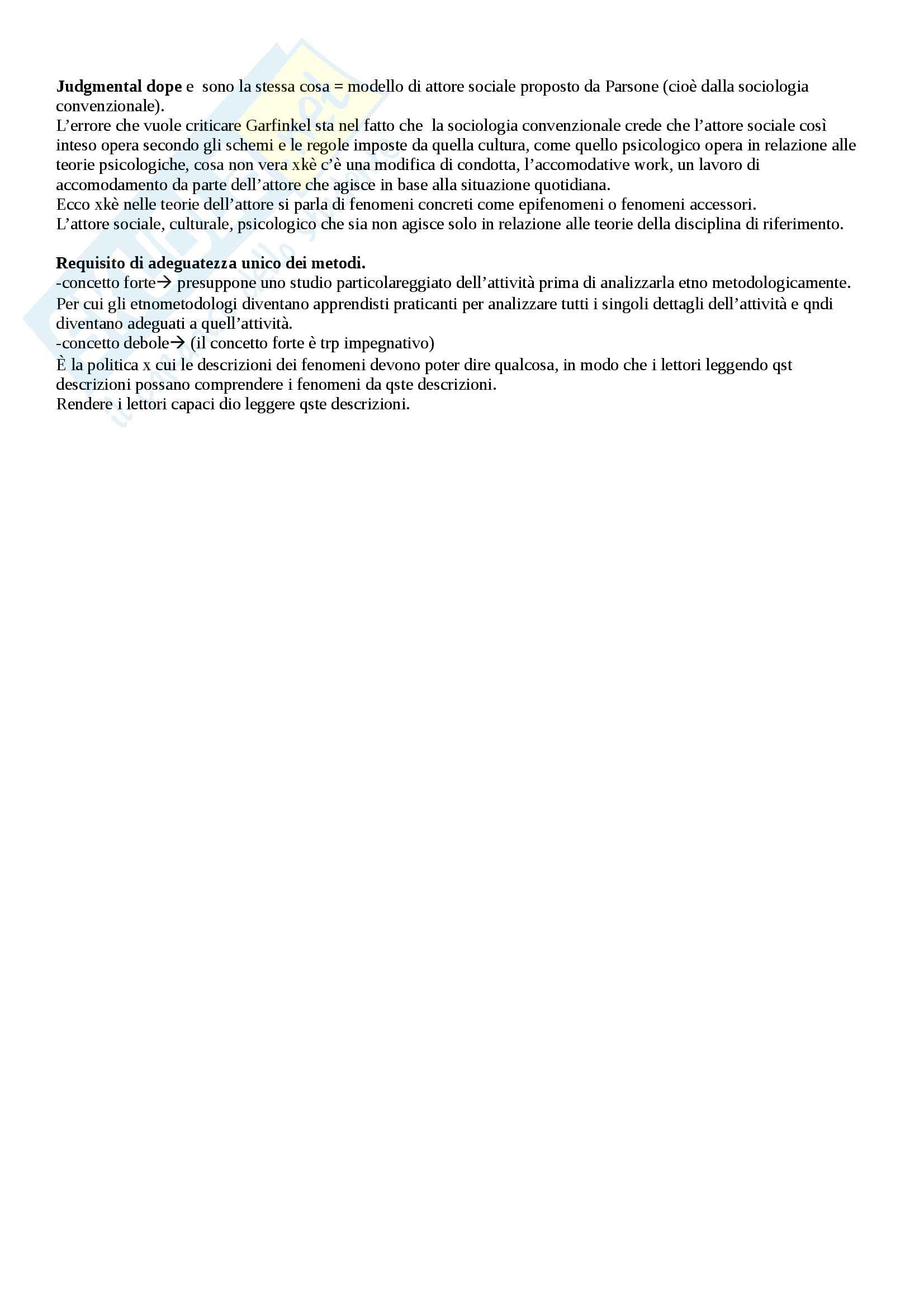 Riassunto esame Sociologia, prof. Sena, libro consigliato Etnometodologia e sociologia in Garfinkel Pag. 26