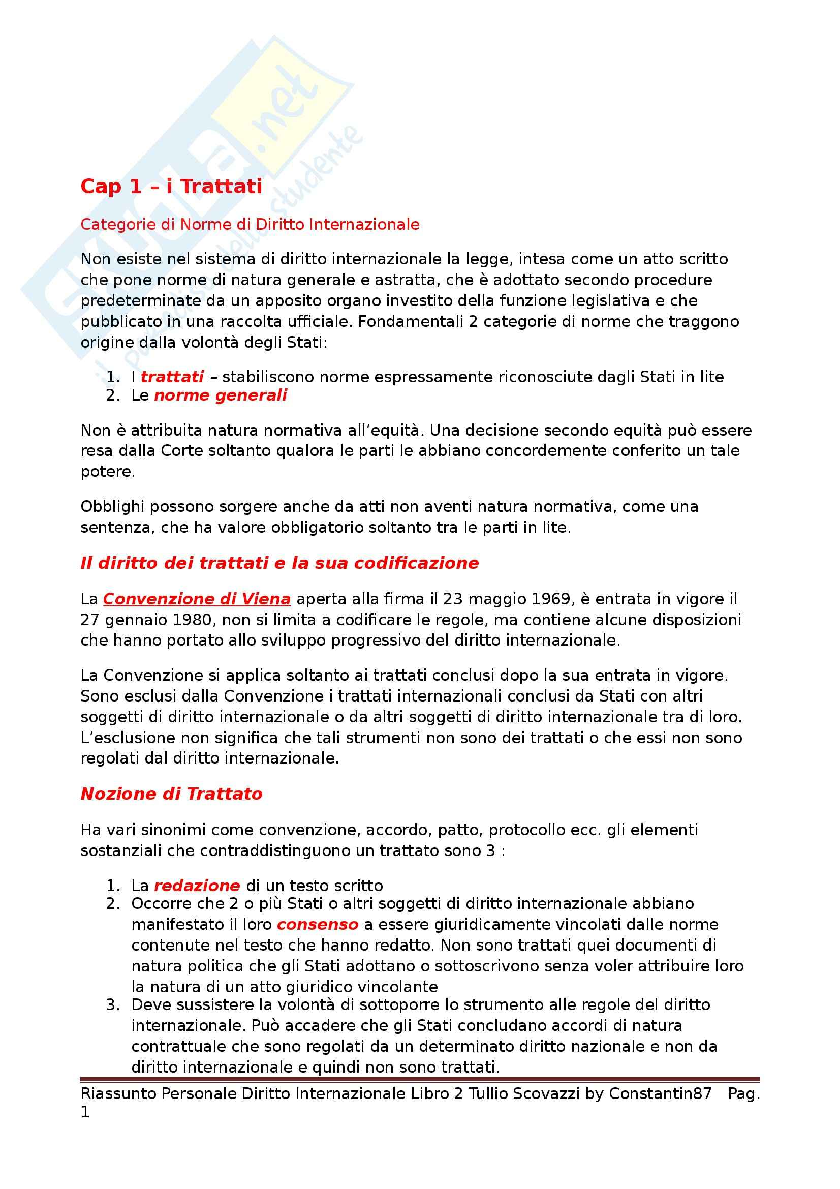 Riassunto esame Diritto internazionale, prof. Scovazzi, libro consigliato Corso di diritto internazionale. Libro II