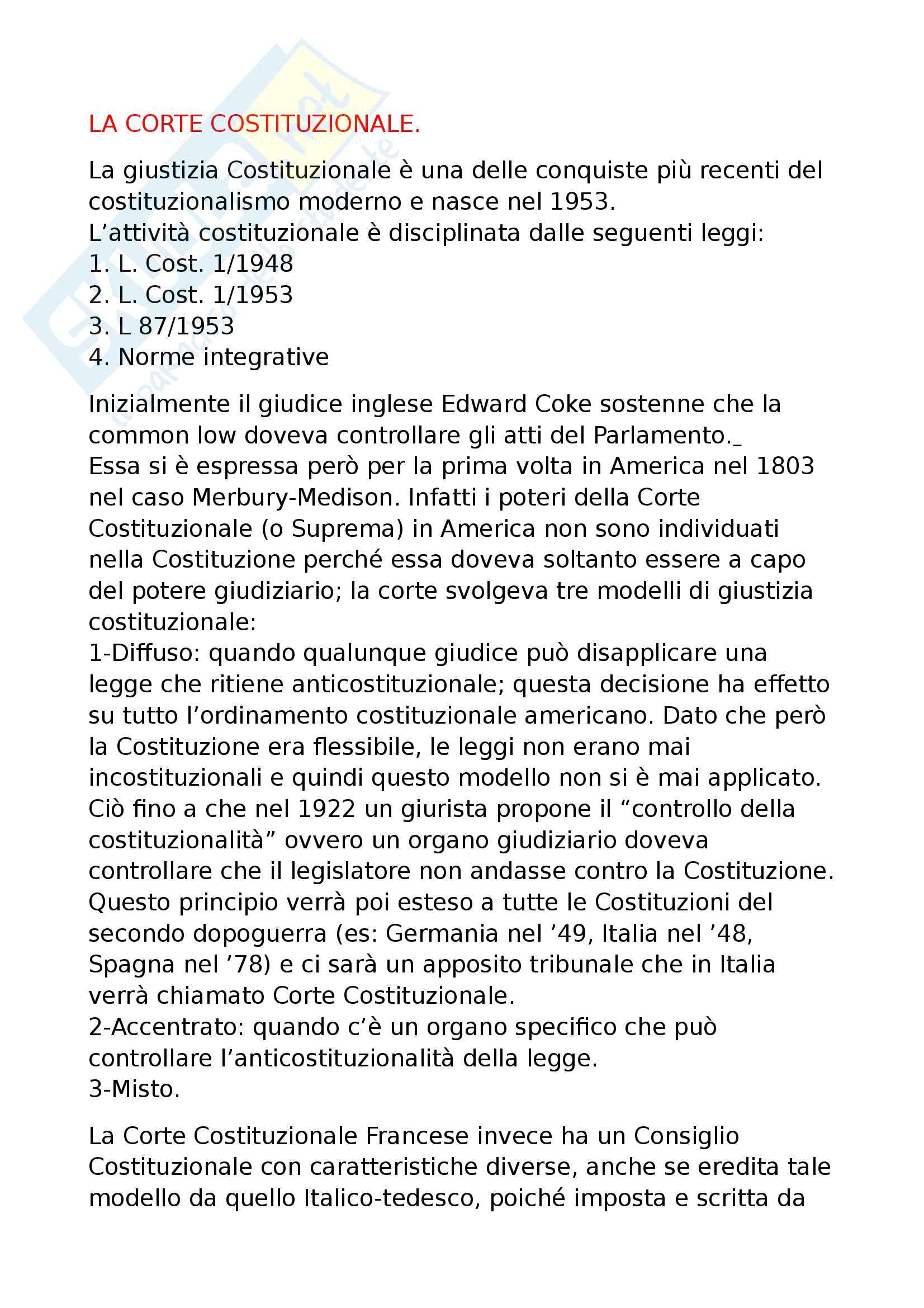 10 - Corte costituzionale, composizione, funzioni legittimità costituzionale, processo sentenze e competenze Stato-Regioni