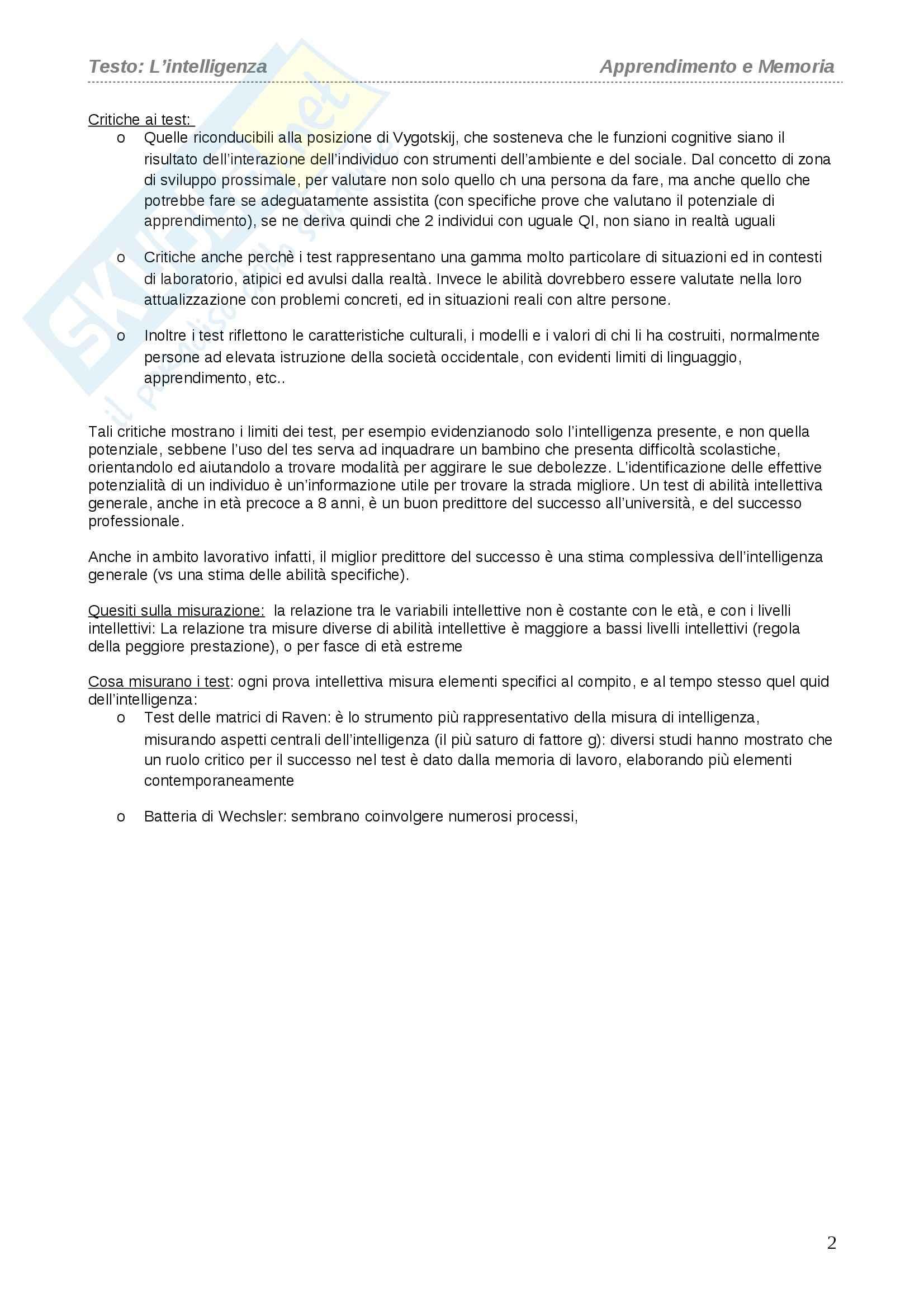 Riassunto esame Apprendimento e Memoria, prof. Cornoldi, libro consigliato L'intelligenza, Cornoldi Pag. 2