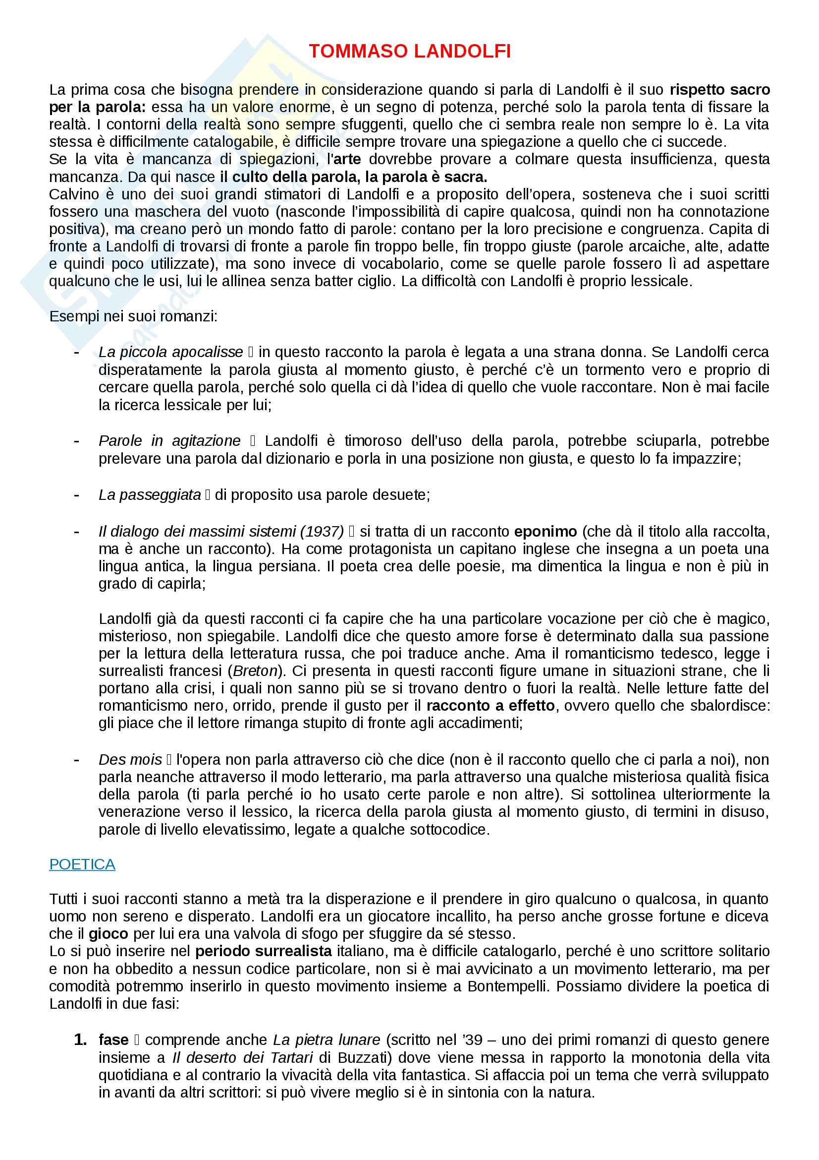 Riassunto esame di Lingua e letteratura italiana, prof.ssa Zangrandi, libro consigliato La pietra lunare, T. Landolfi
