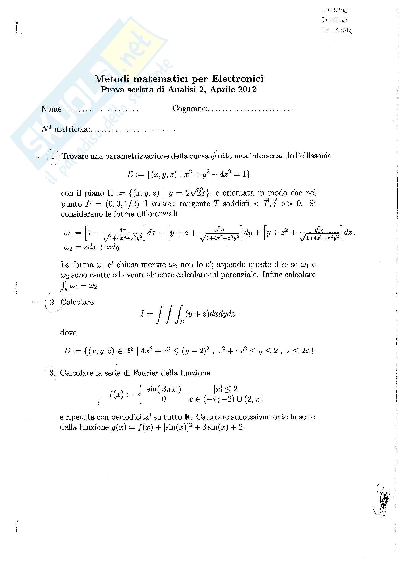 Analisi 2 - Esercizi