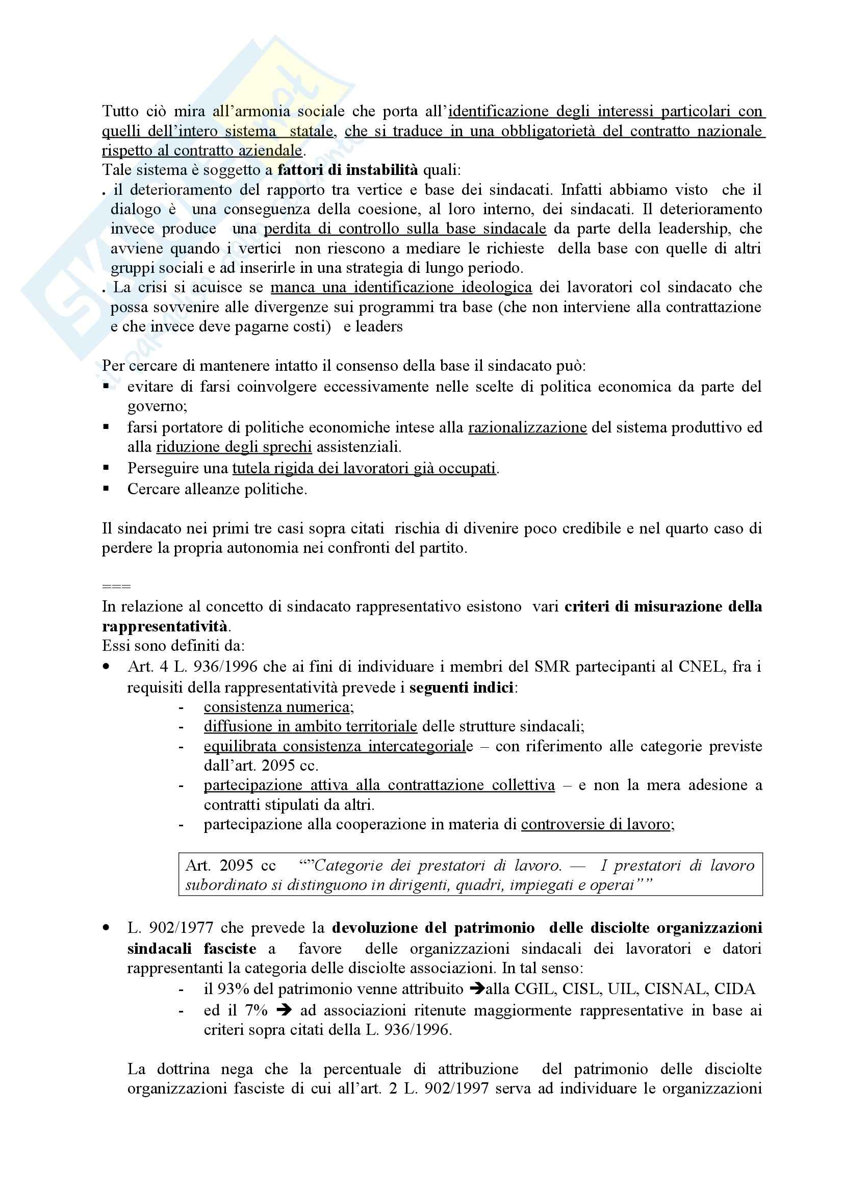 Diritto sindacale - l'organizzazione sindacale Pag. 16