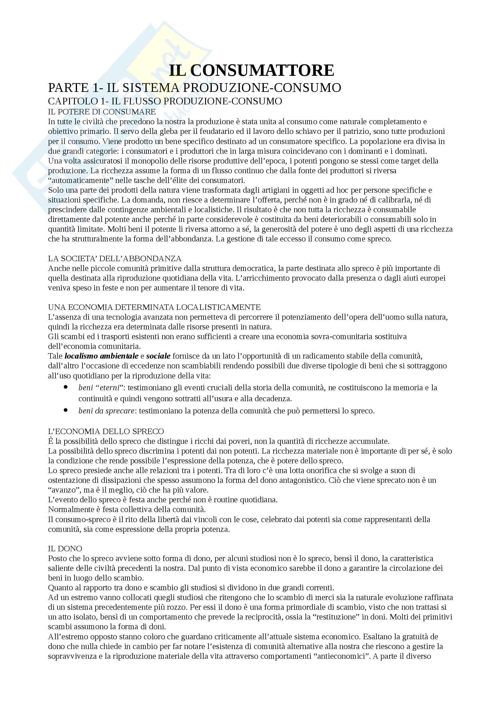 Riassunto esame Sociologia, docente Boccato, libro consigliato Il Consumattore, Zorino