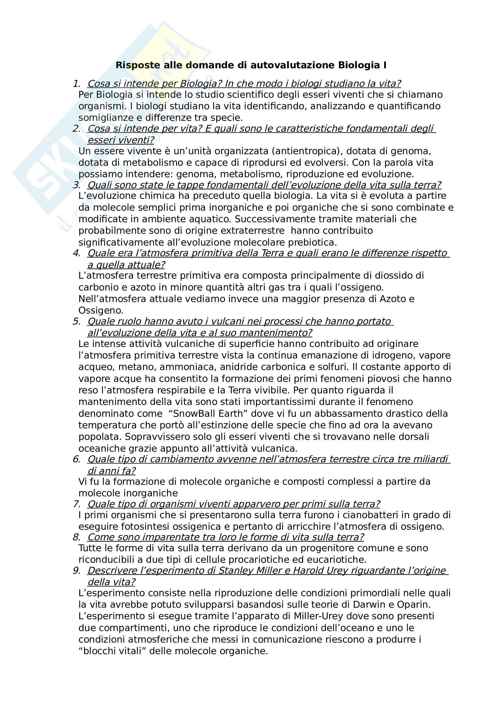 Risposte prima parte domande per esame Biologia