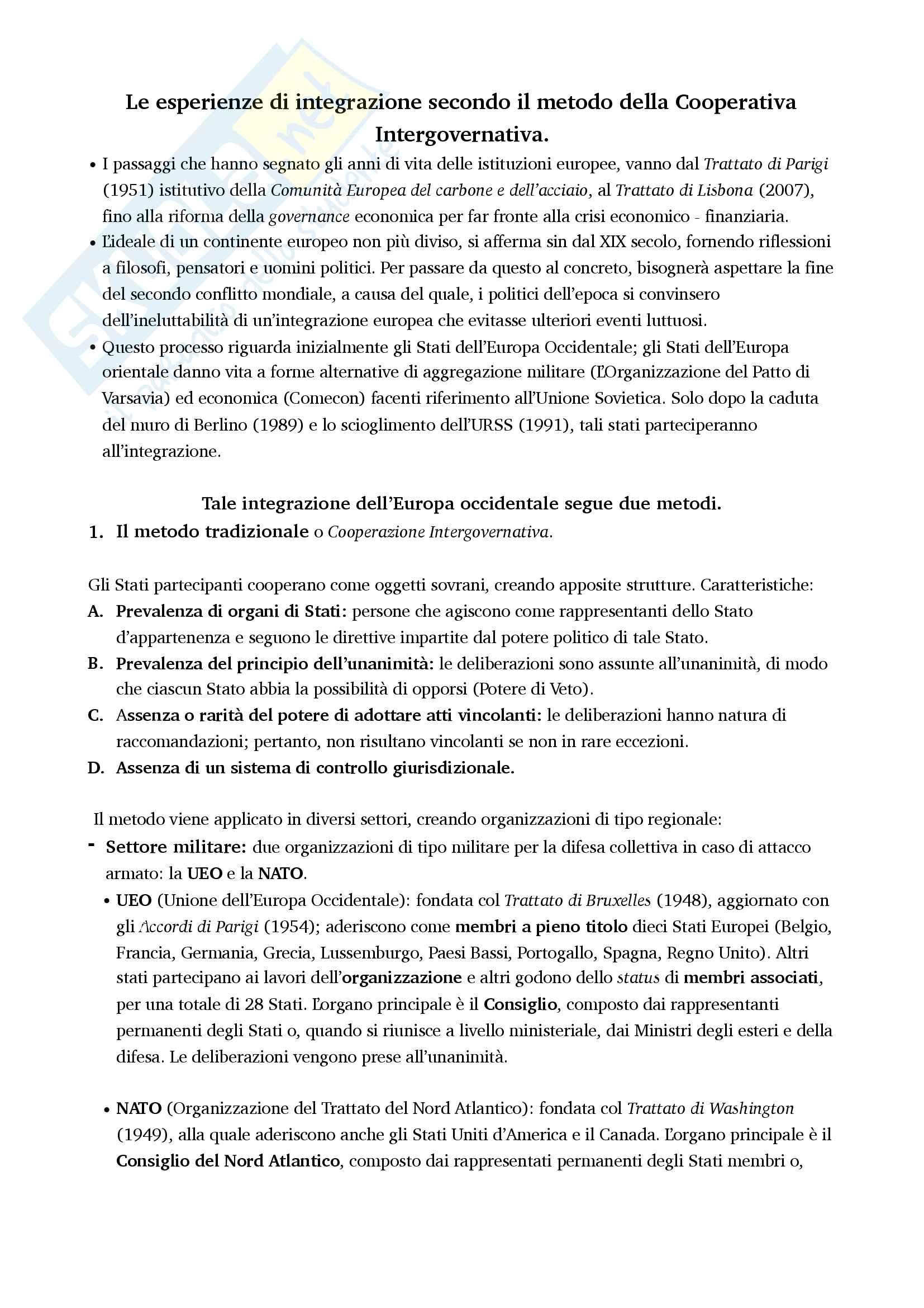 Riassunto esame di Diritto dell'Unione Europea