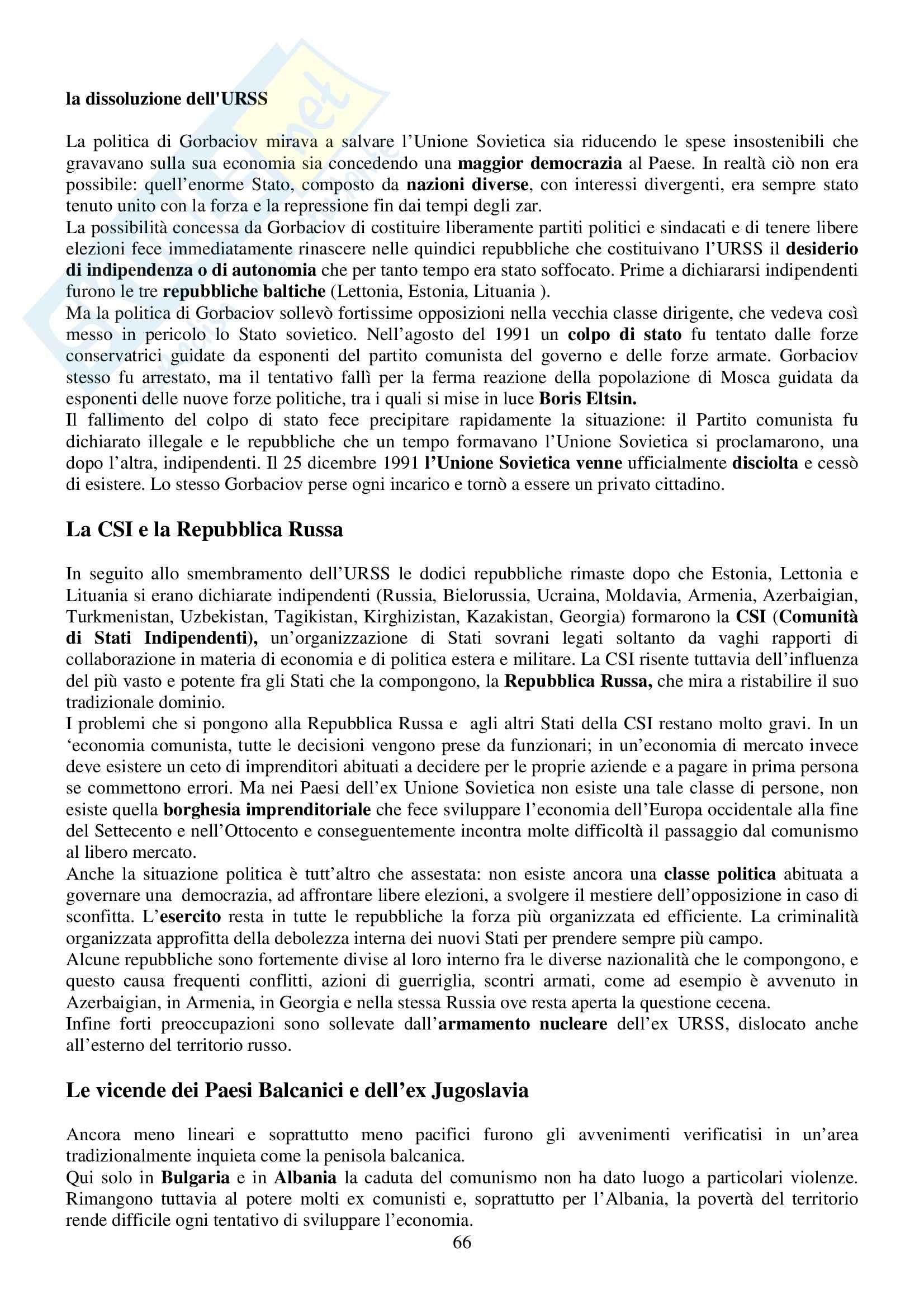 Riassunto esame Storia Contemporanea, prof. Sabbatucci, libro consigliato Vidotto Pag. 66