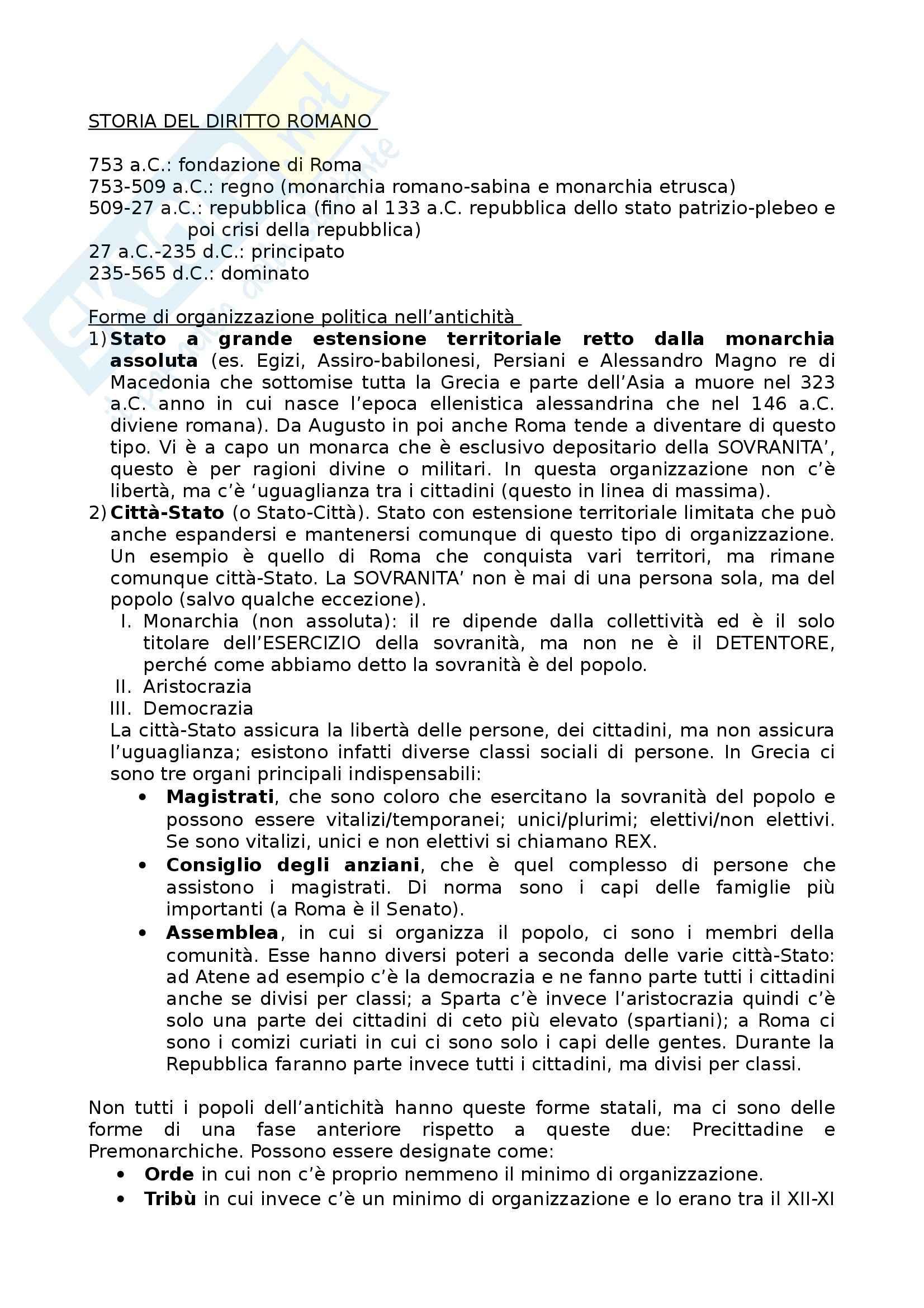 Storia del diritto romano - Appunti