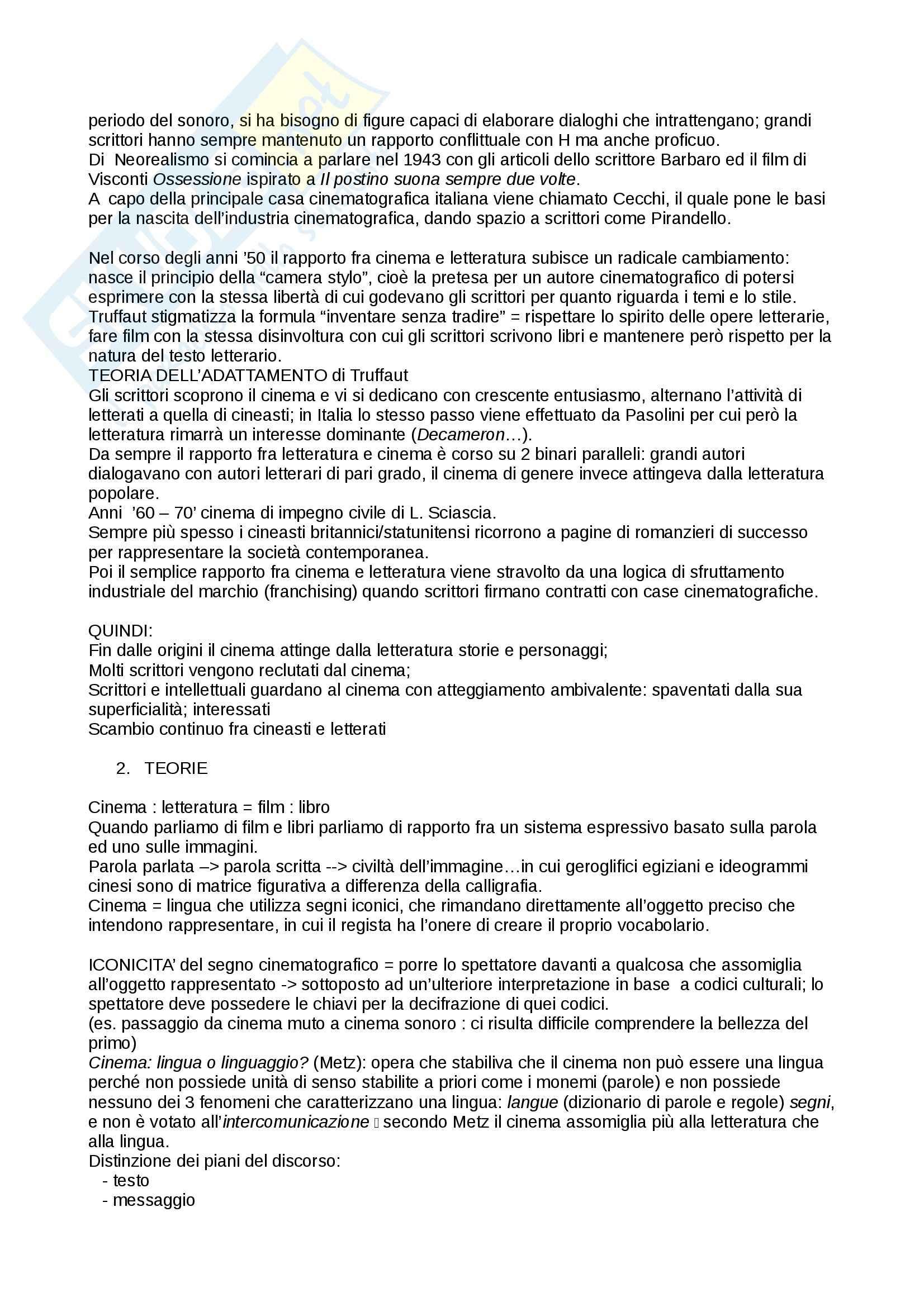 Riassunto esame Cultura italiana, prof. Martelli, libro consigliato Cinema e Letteratura, Manzoli Pag. 2