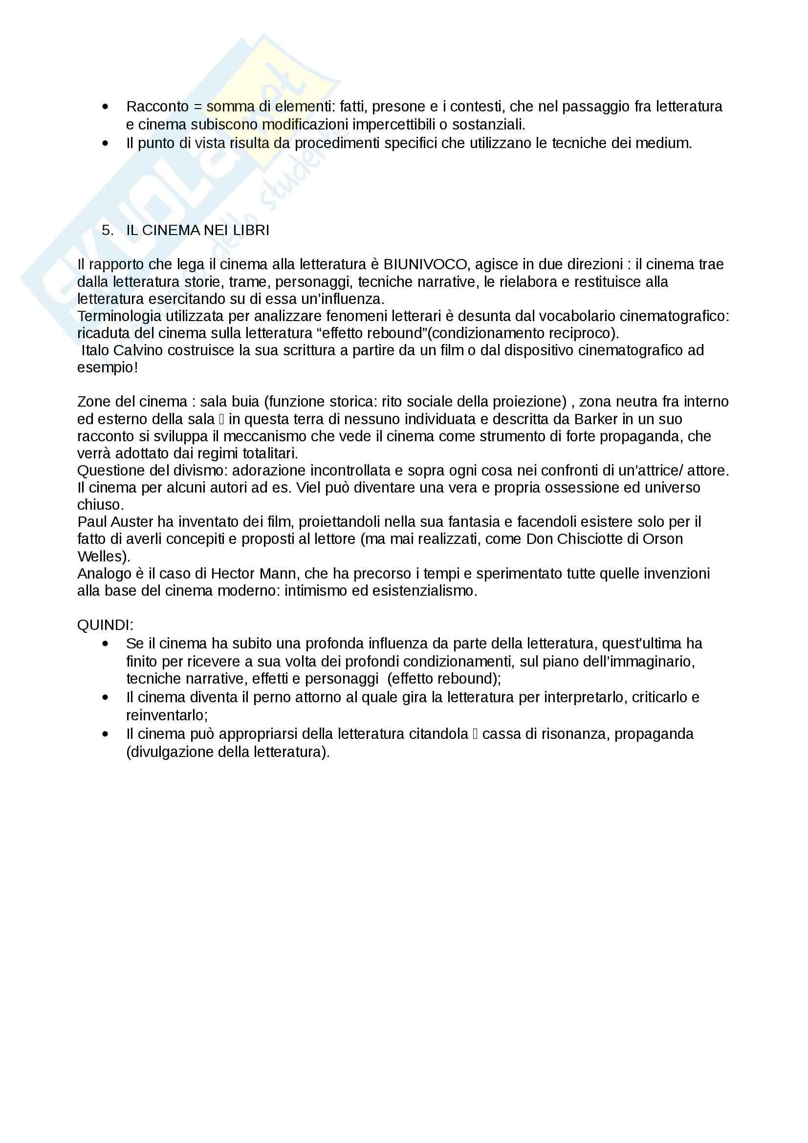 Riassunto esame Cultura italiana, prof. Martelli, libro consigliato Cinema e Letteratura, Manzoli Pag. 6