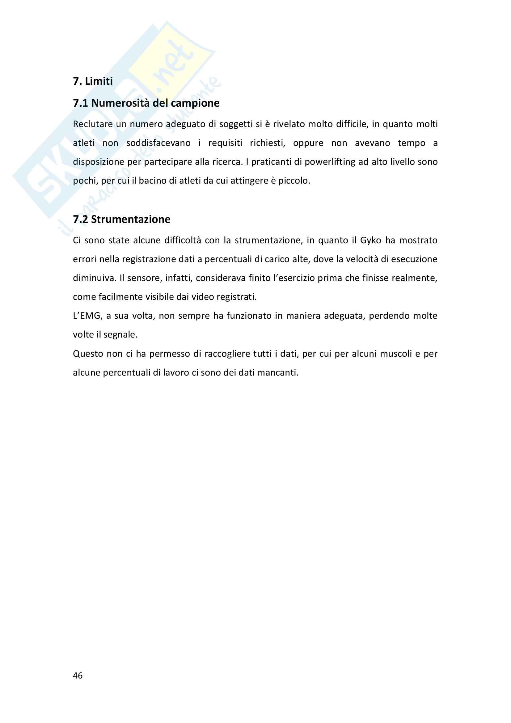 Analisi biomeccanica della panca piana in atleti di alto livello Pag. 46