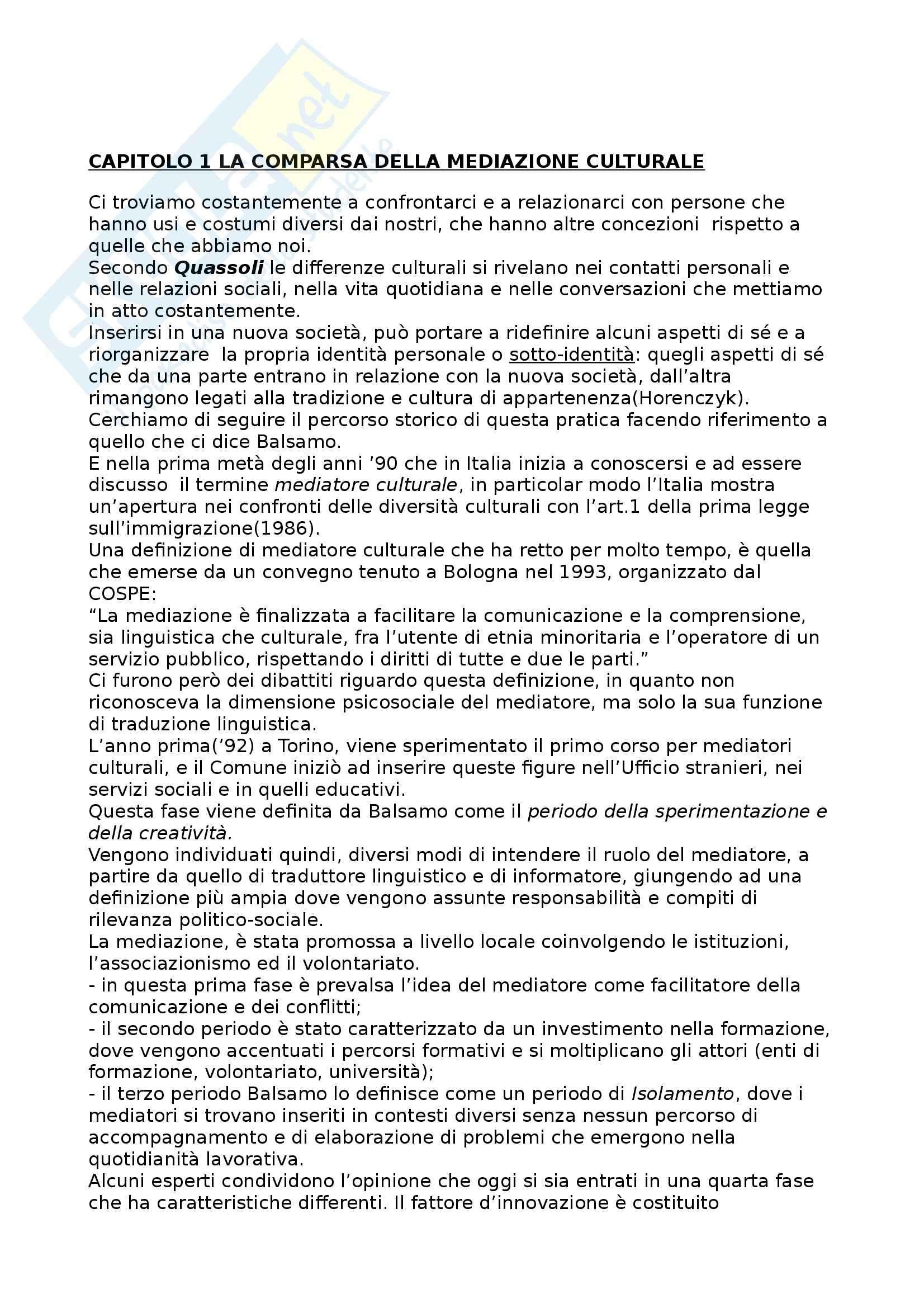 Riassunto esame Tecniche di Intervento nella Mediazione Culturale, prof. Villano, libro consigliato Culture e Mediazioni di Villano e Ricci