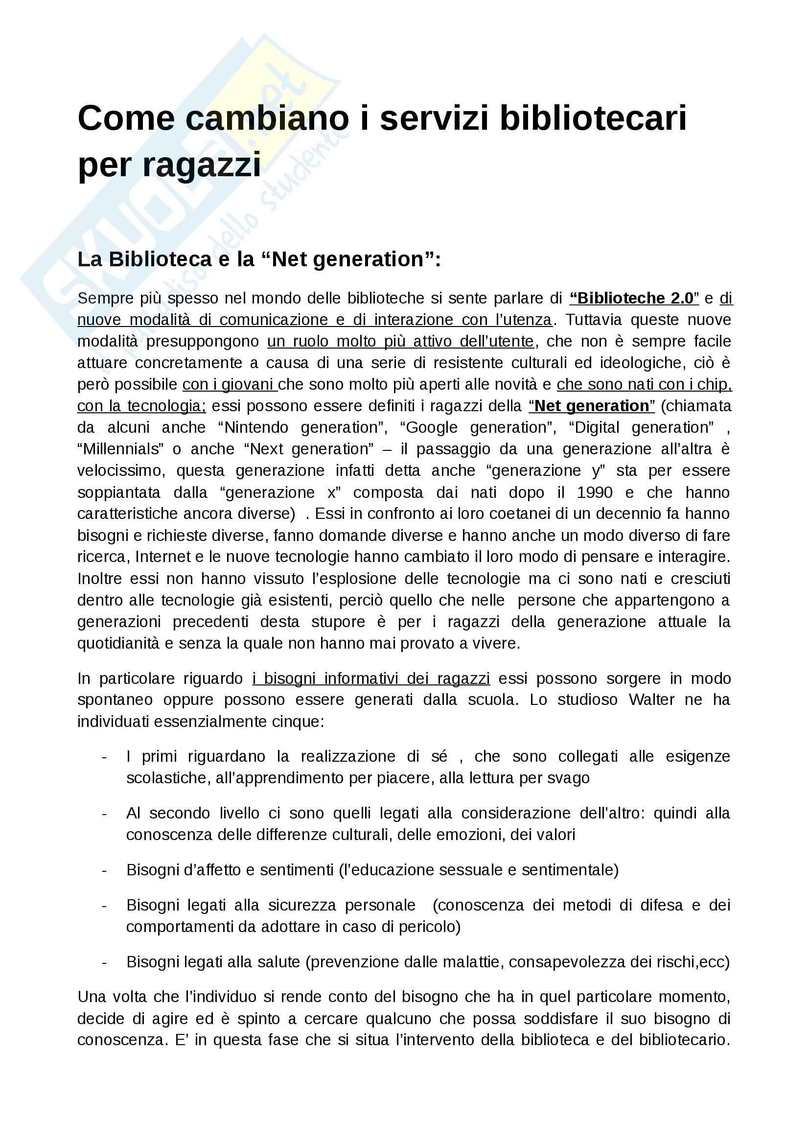 Riassunto esame Bibliografia, prof. Marquardt, libro consigliato Come cambiano i servizi bibliotecari per ragazzi, Baudo