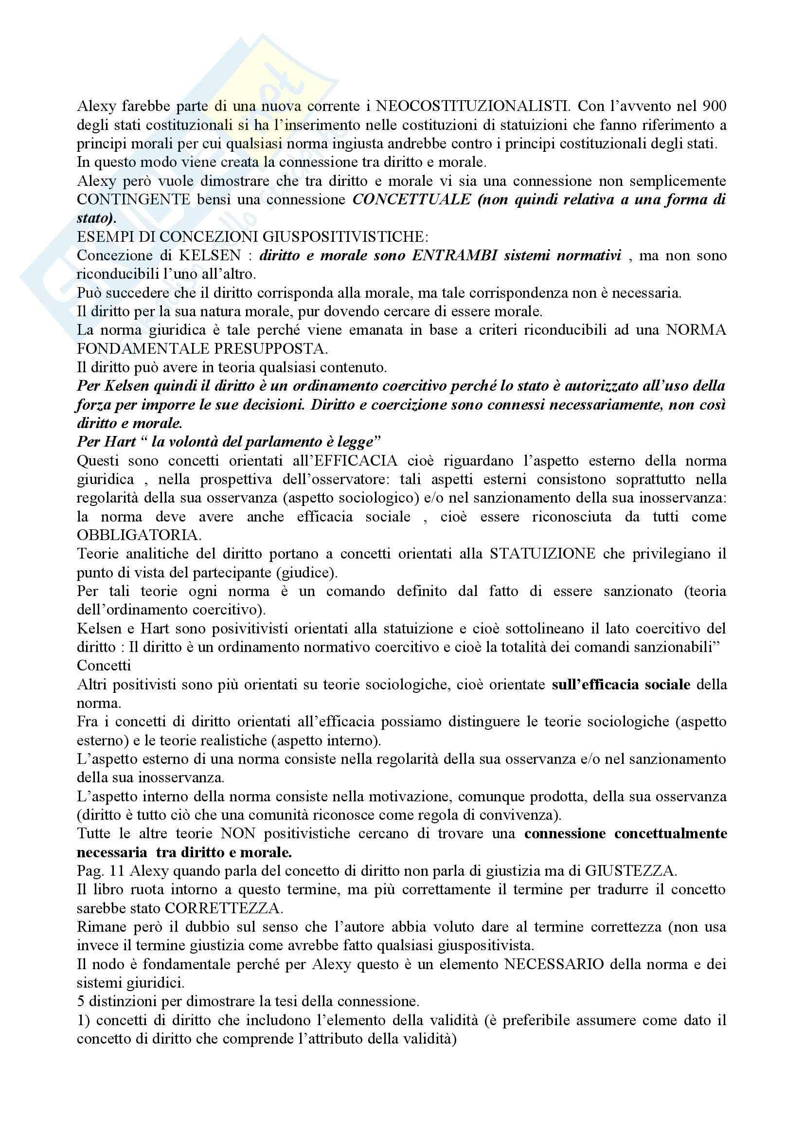 Riassunto esame Filosofia del diritto, prof. Campanale, libro consigliato Concetto e validità del diritto, Alexy Pag. 2