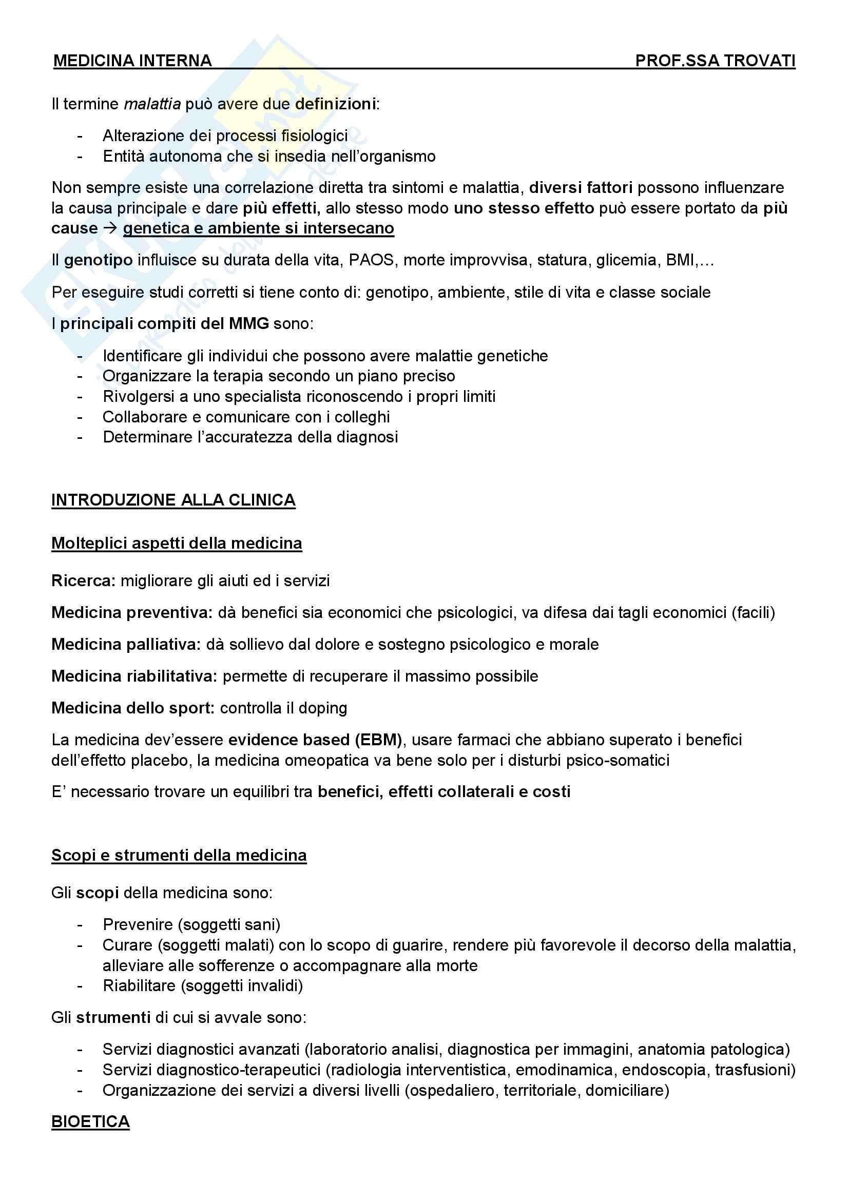 Introduzione alla medicina - Appunti