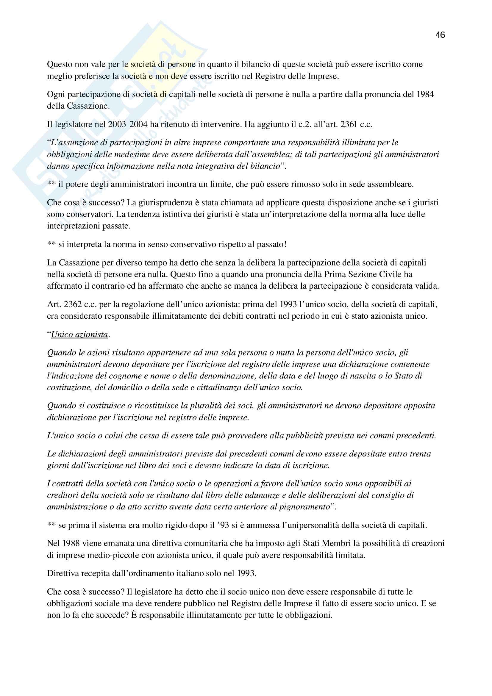 Appunti di diritto commerciale (Unitn, prof. Galletti) Pag. 46