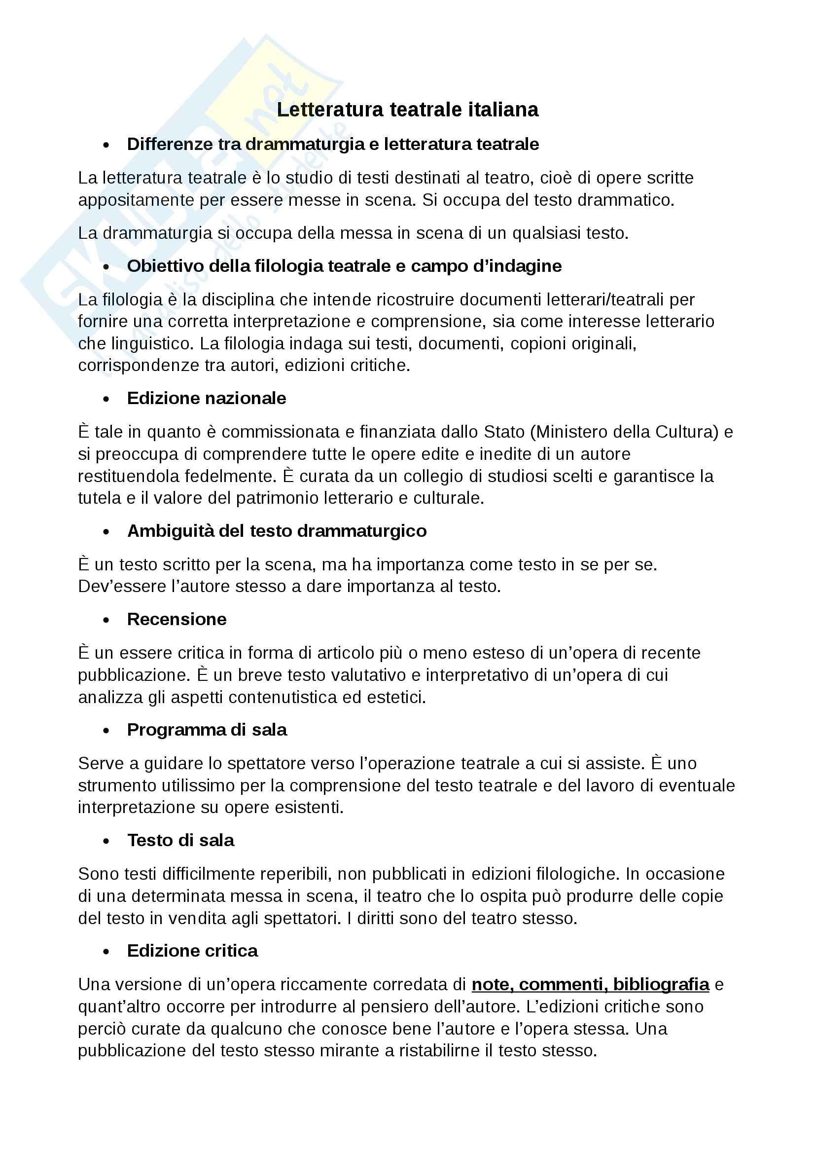 Lezioni: Appunti di Letteratura teatrale italiana