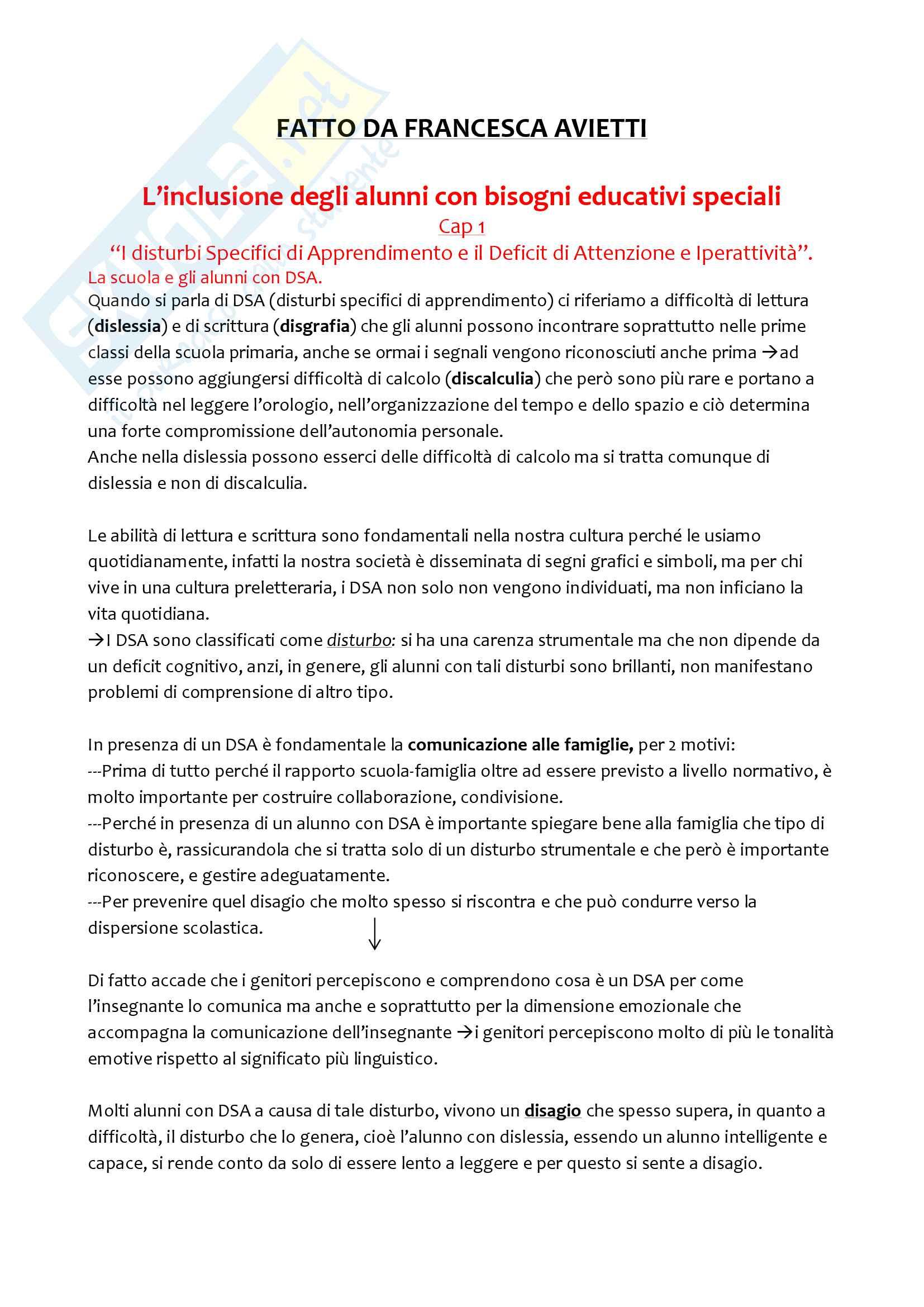 """Riassunto esame Pedagogia e didattica speciale, docente Luana Collacchioni, libro consigliato: """"L'inclusione degli alunni con Bisogni Educativi Speciali"""", di Luana Collacchioni e Andrea Marchetti"""