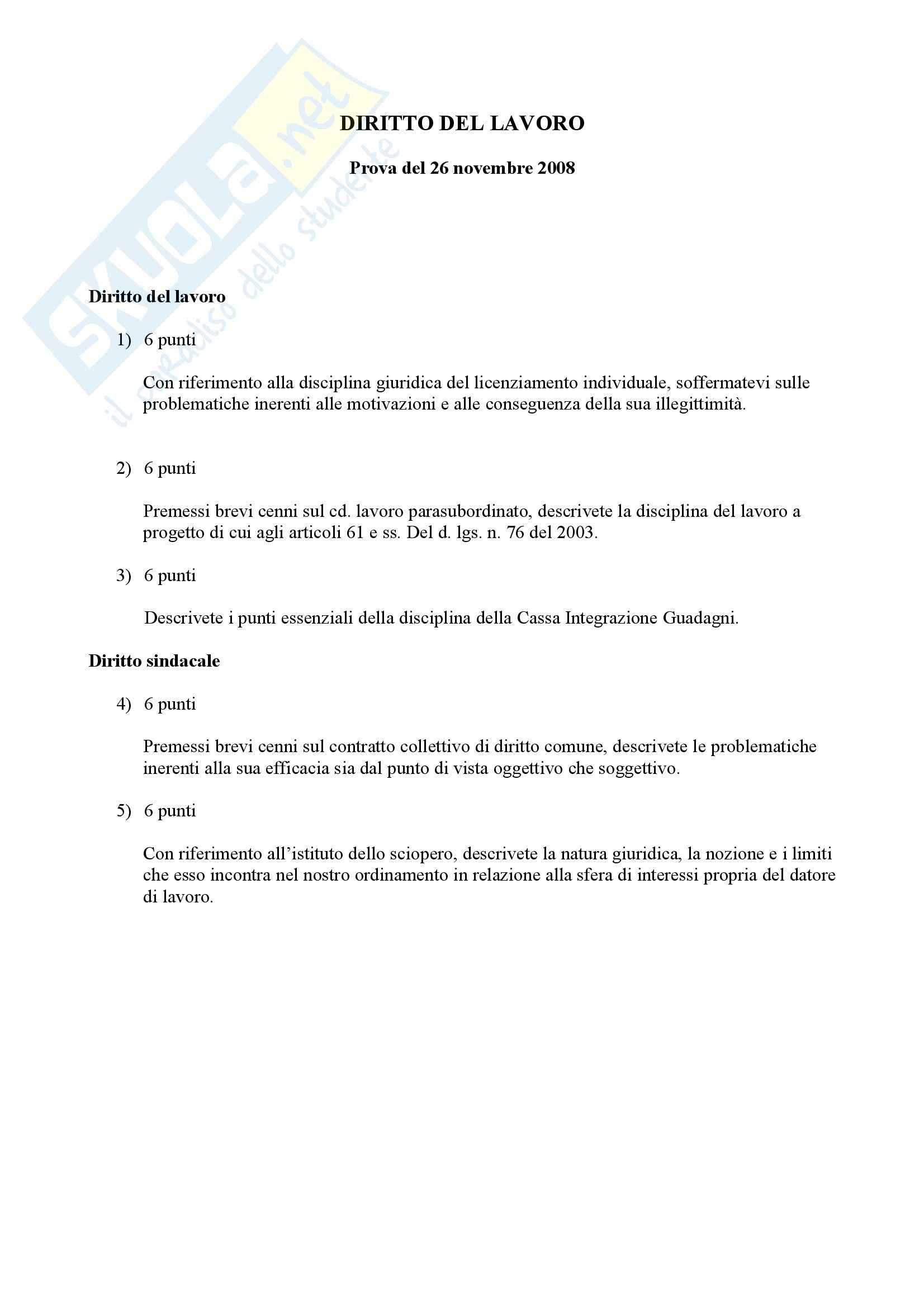 Diritto del lavoro - Domande